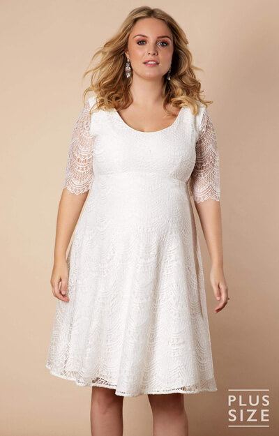 Verona Plus Size Maternity Wedding Dress Short Ivory White by Tiffany Rose