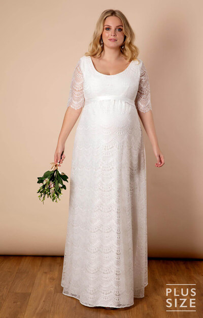 Verona Plus Size Maternity Wedding Gown Ivory White by Tiffany Rose