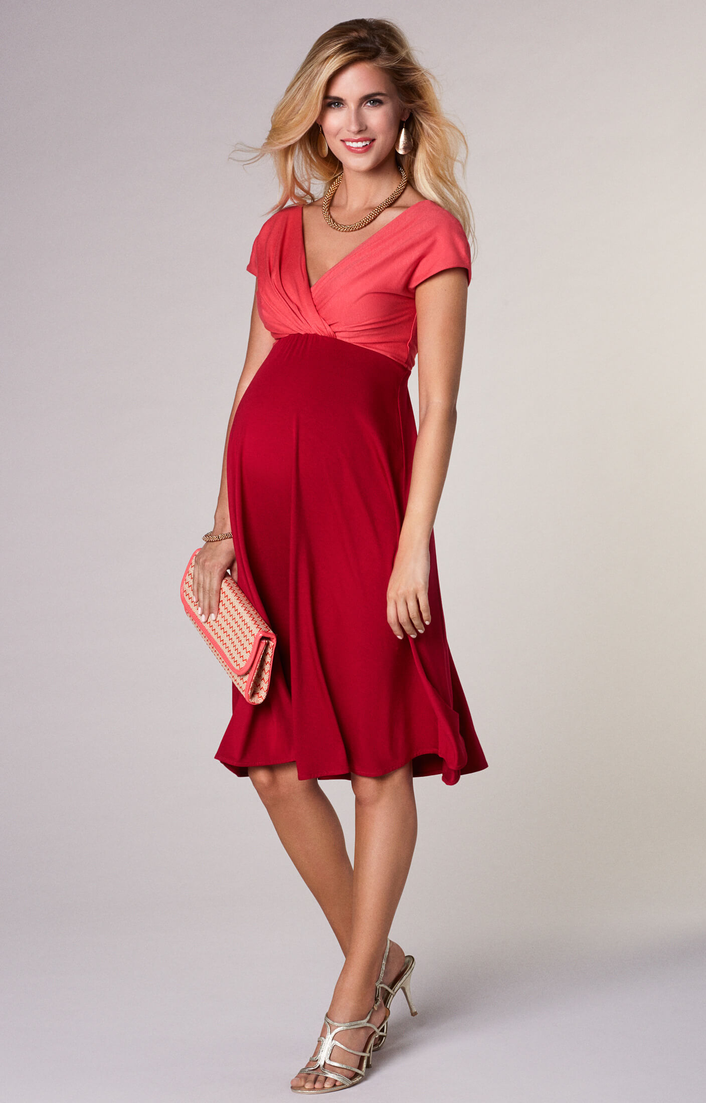 Alessandra Maternity Dress Short Coral Red Maternity