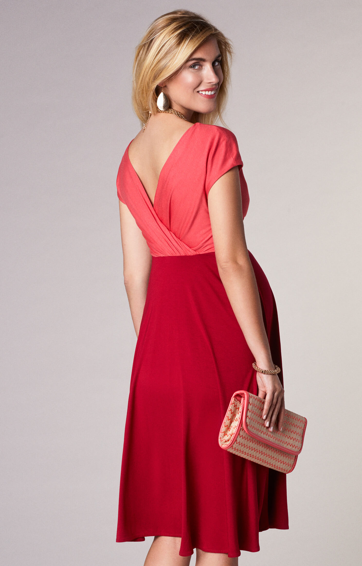 Alessandra Maternity Dress Short Coral Red Maternity Wedding Dresses Evening Wear And Party Clothes By Tiffany Rose Us