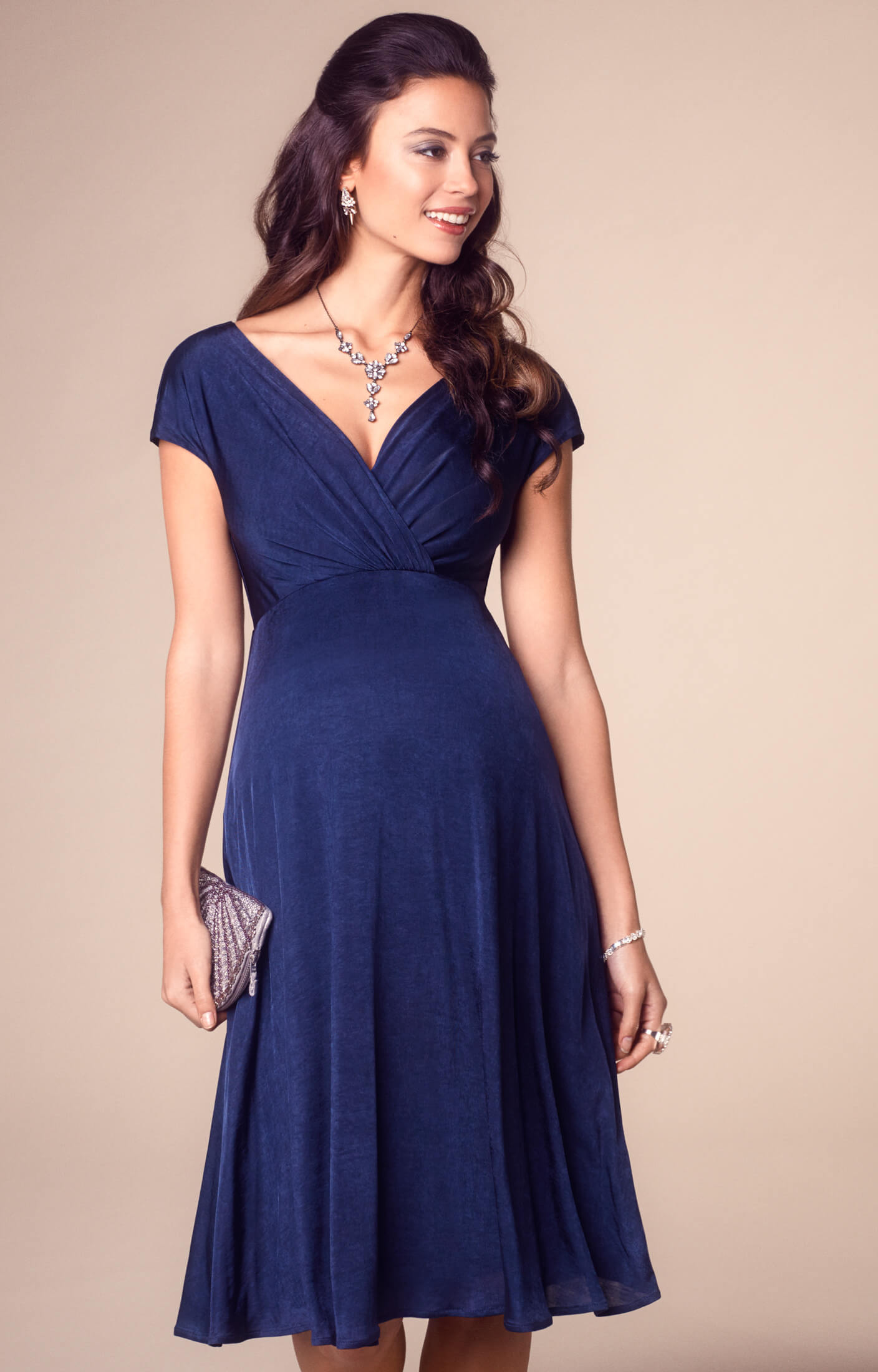 Alessandra Maternity Dress Short Navy Maternity Wedding