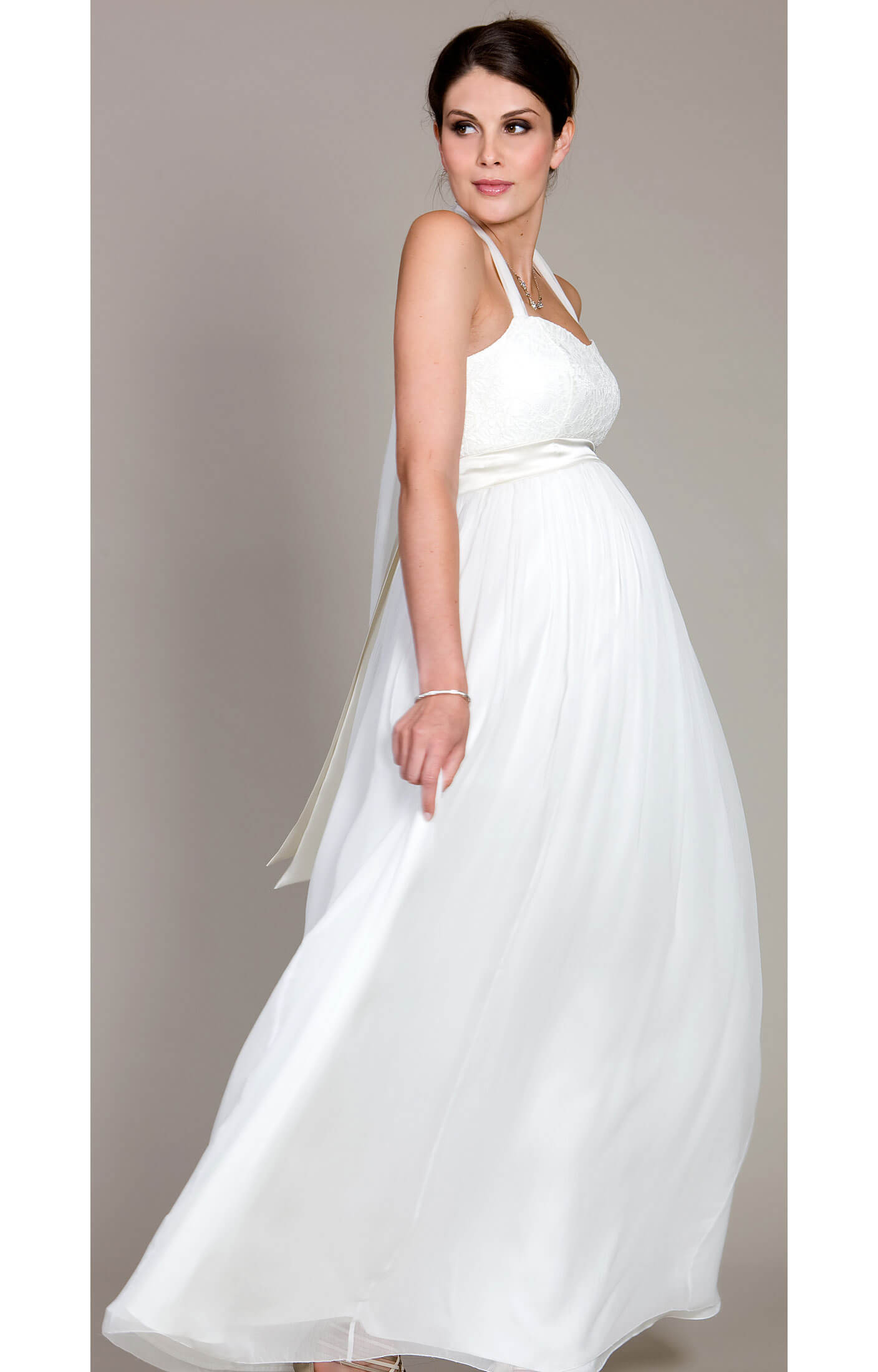 Alya lace maternity wedding dress long maternity for Maternity dresses for wedding party