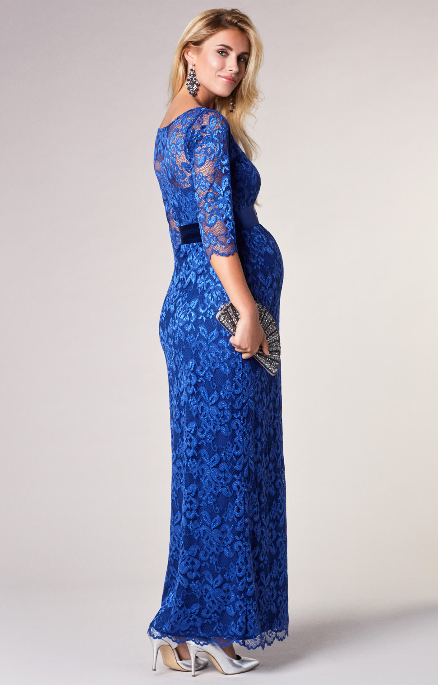 Amelia Lace Maternity Dress Long Windsor Blue