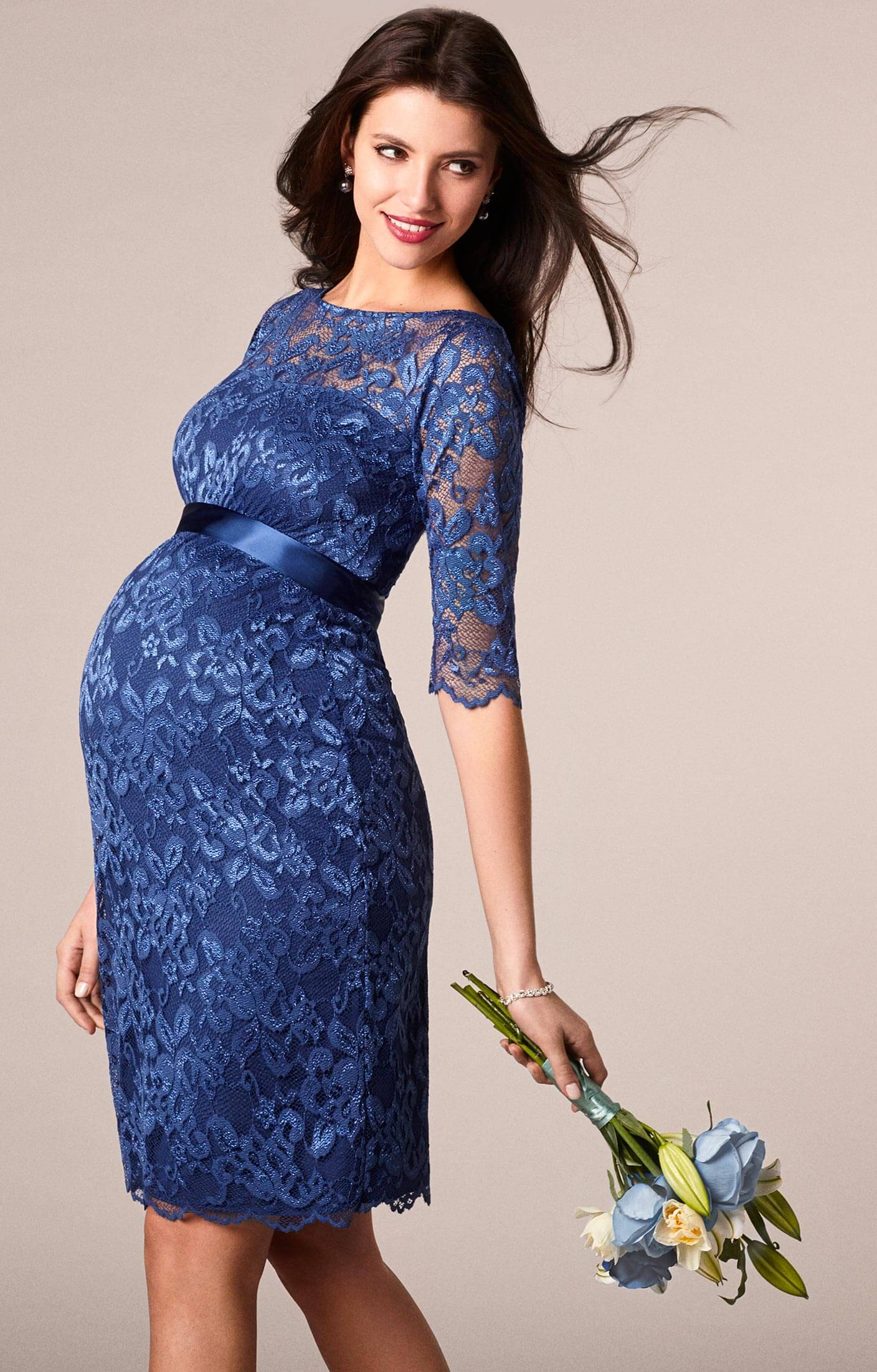 Amelia Lace Maternity Dress Short Windsor Blue