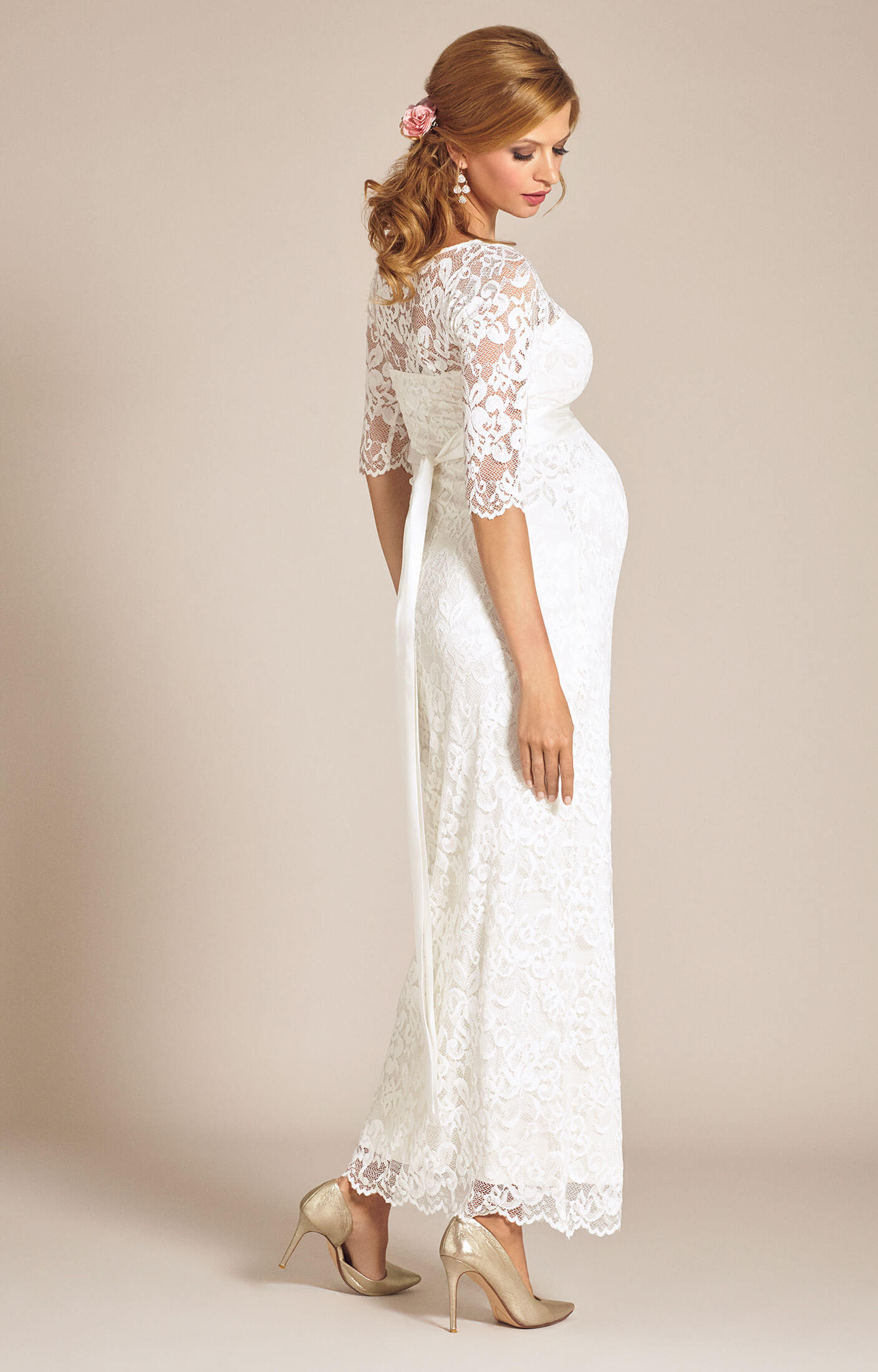 2453d19f9acf Amelia Lace Maternity Wedding Dress Long (Ivory) - Maternity Wedding Dresses,  Evening Wear and Party Clothes by Tiffany Rose UK
