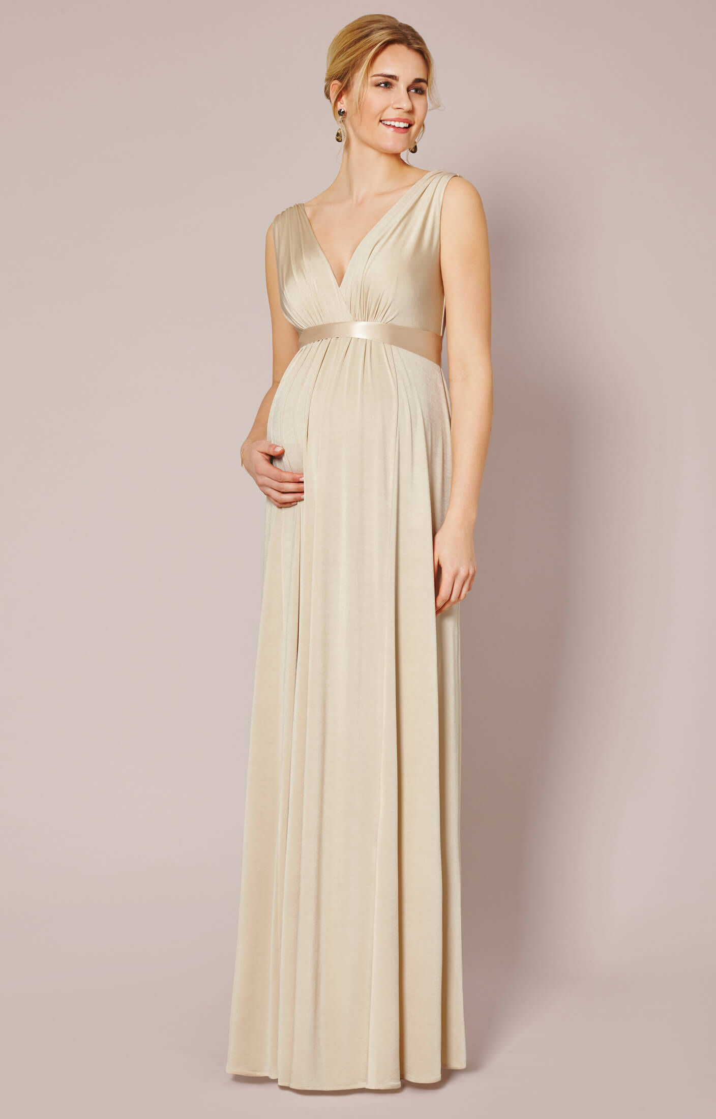 Anastasia maternity gown gold dust maternity wedding for Wedding guest pregnancy dresses