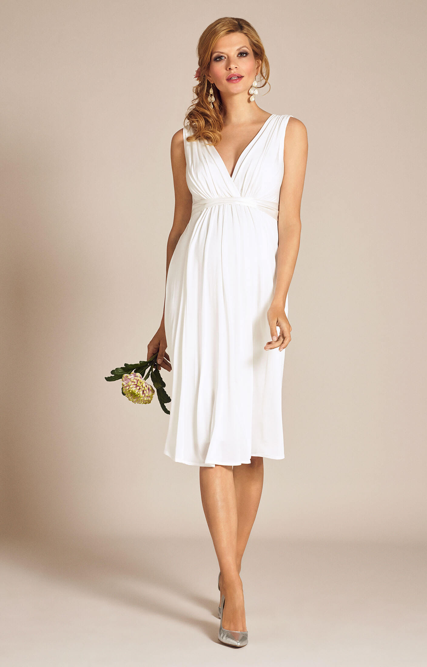 Anastasia Maternity Wedding Dress Short Ivory