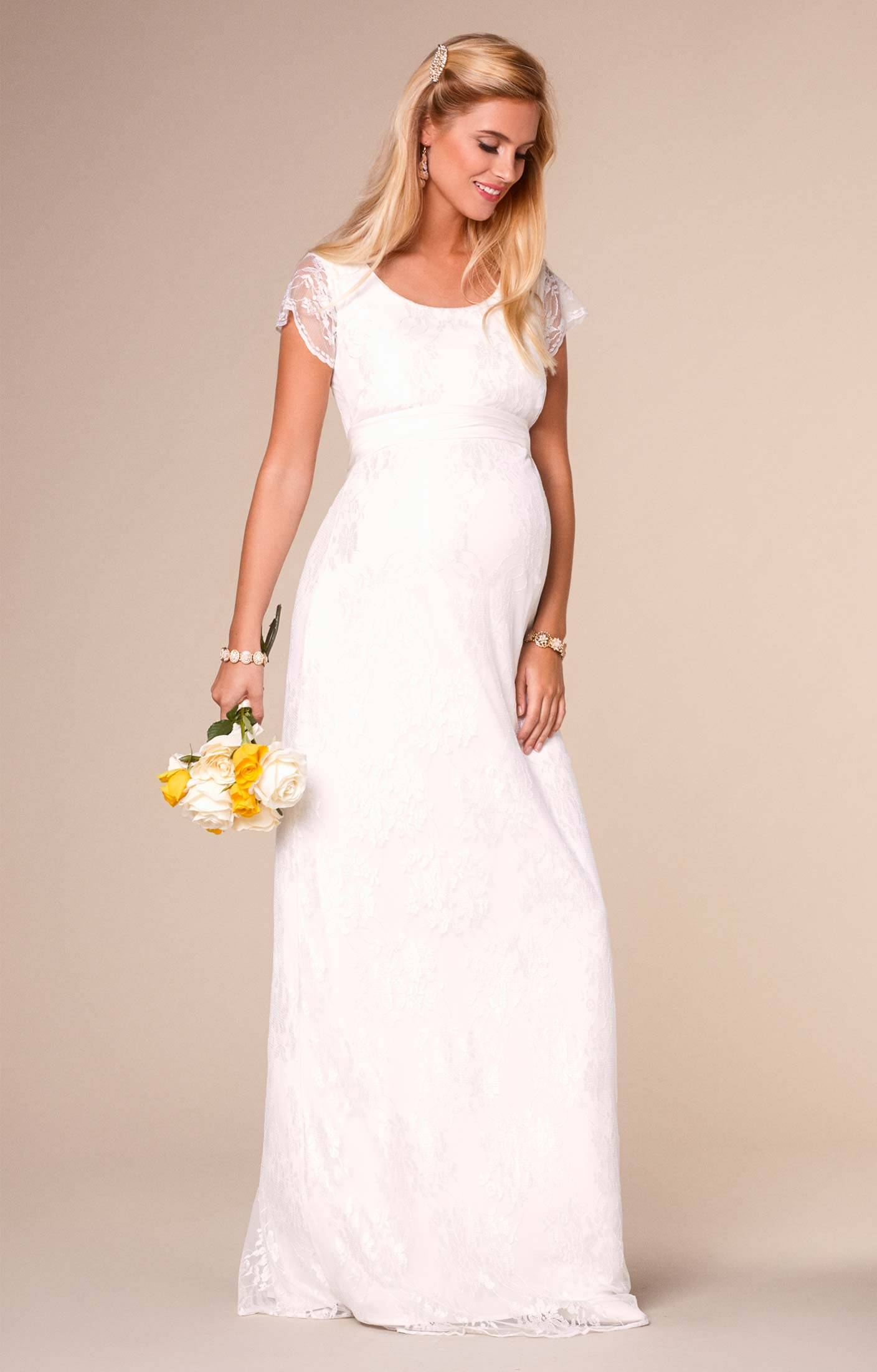 Full length maternity dresses april wedding nursing lace gown long ivory ombrellifo Gallery