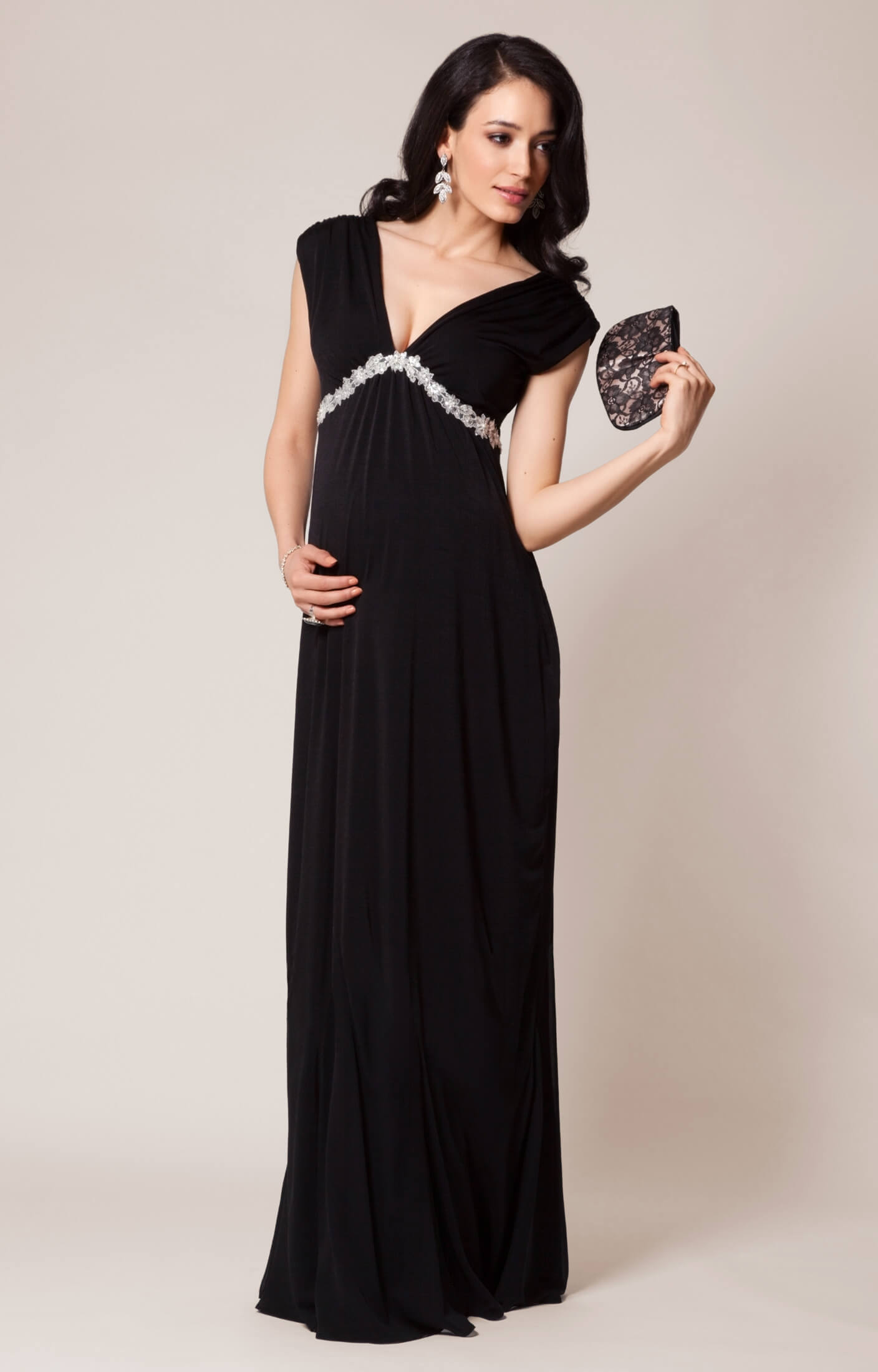 aurora maternity gown long black  maternity wedding