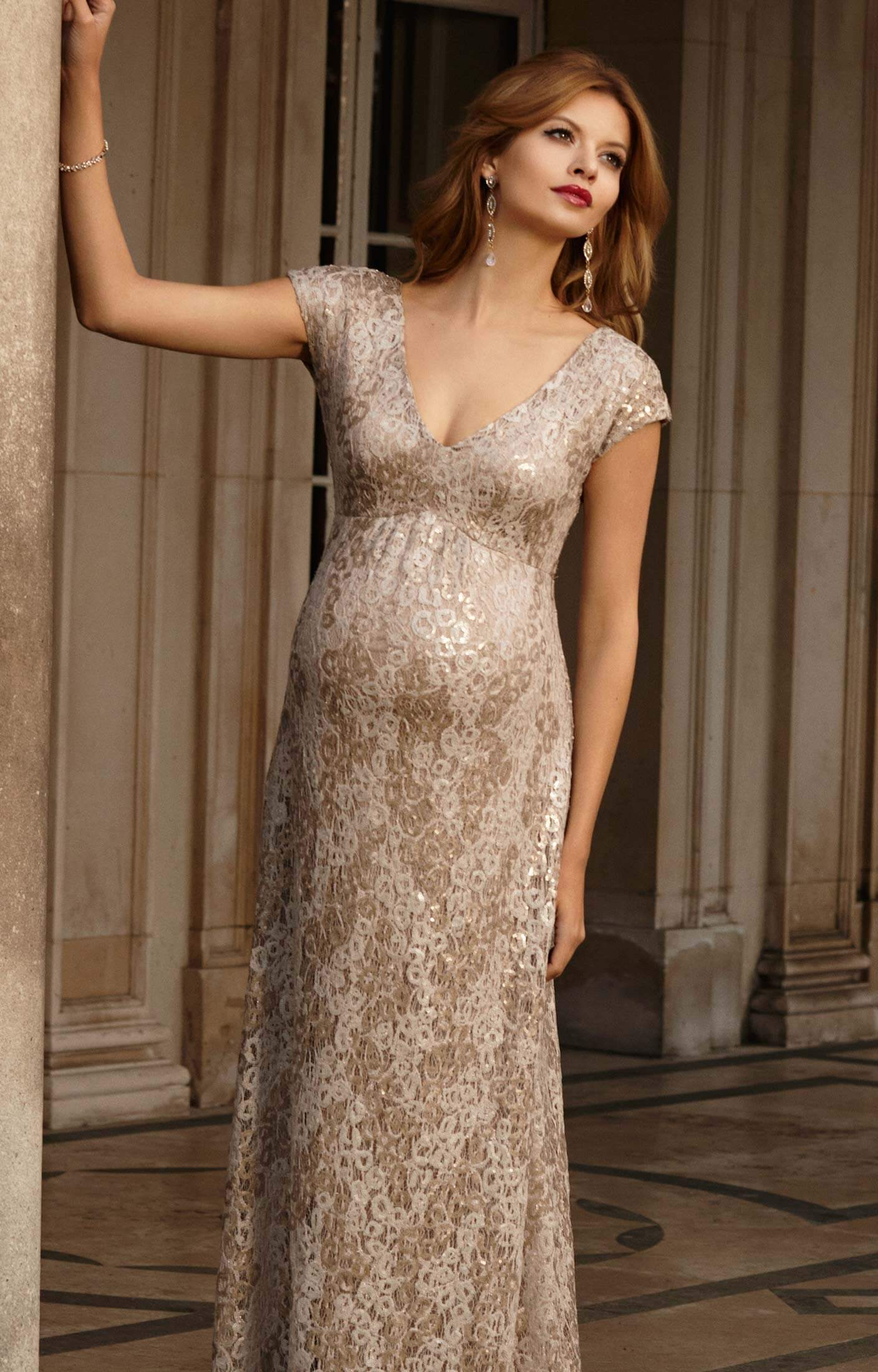 Carmen Maternity Gown Gold Rush - Maternity Wedding Dresses, Evening ...