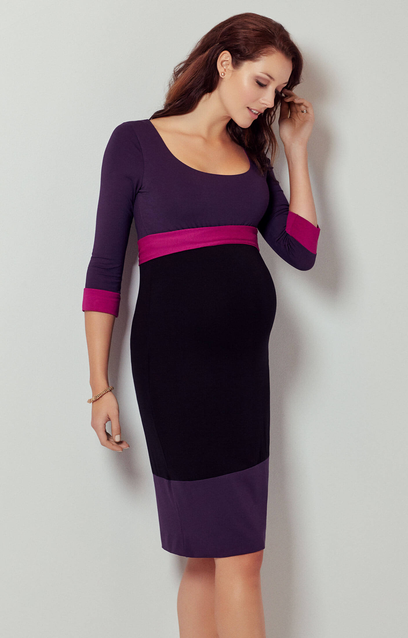 7b903ad257dd6 Colour Block Maternity Dress (Purple) - Maternity Wedding Dresses, Evening  Wear and Party Clothes by Tiffany Rose UK