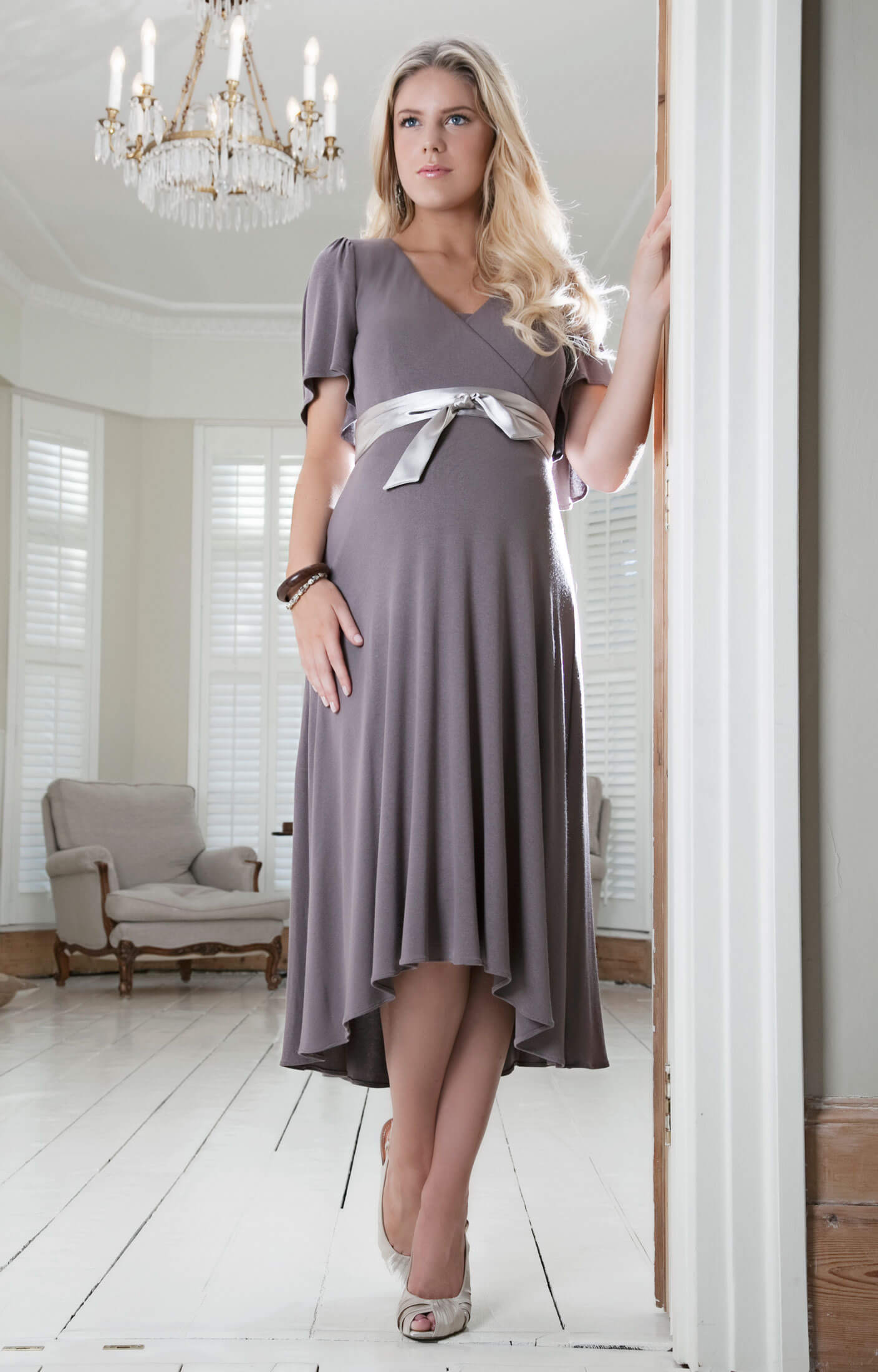 Cocoon nursing maternity dress mink maternity wedding for Pregnancy dress for wedding