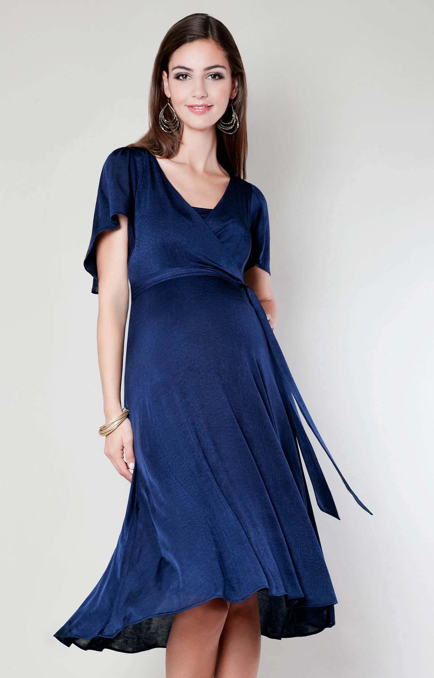 Cocoon nursing dress velvet blue maternity wedding for Postpartum dresses for wedding