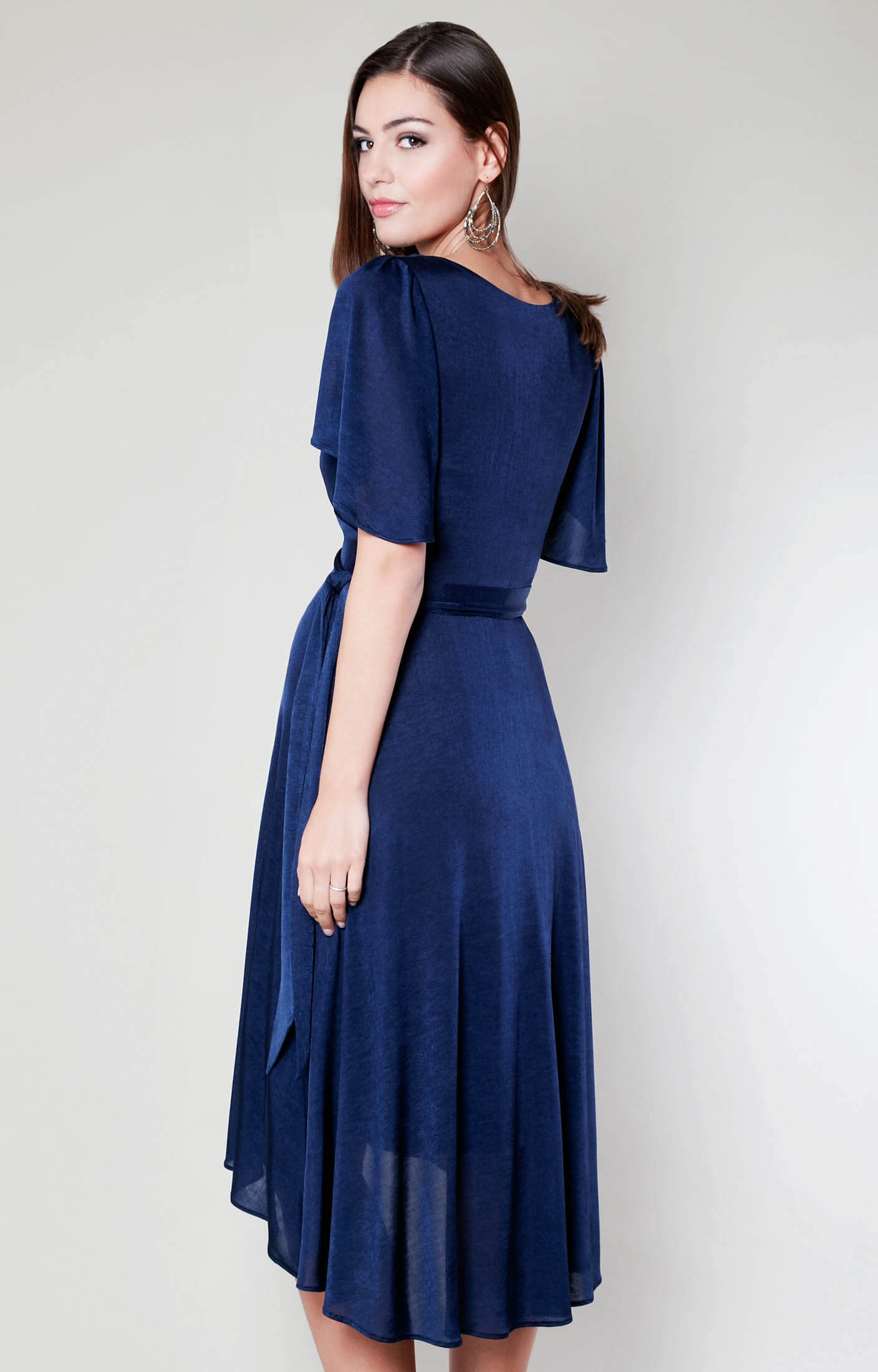 Cocoon Nursing Dress Velvet Blue Maternity Wedding