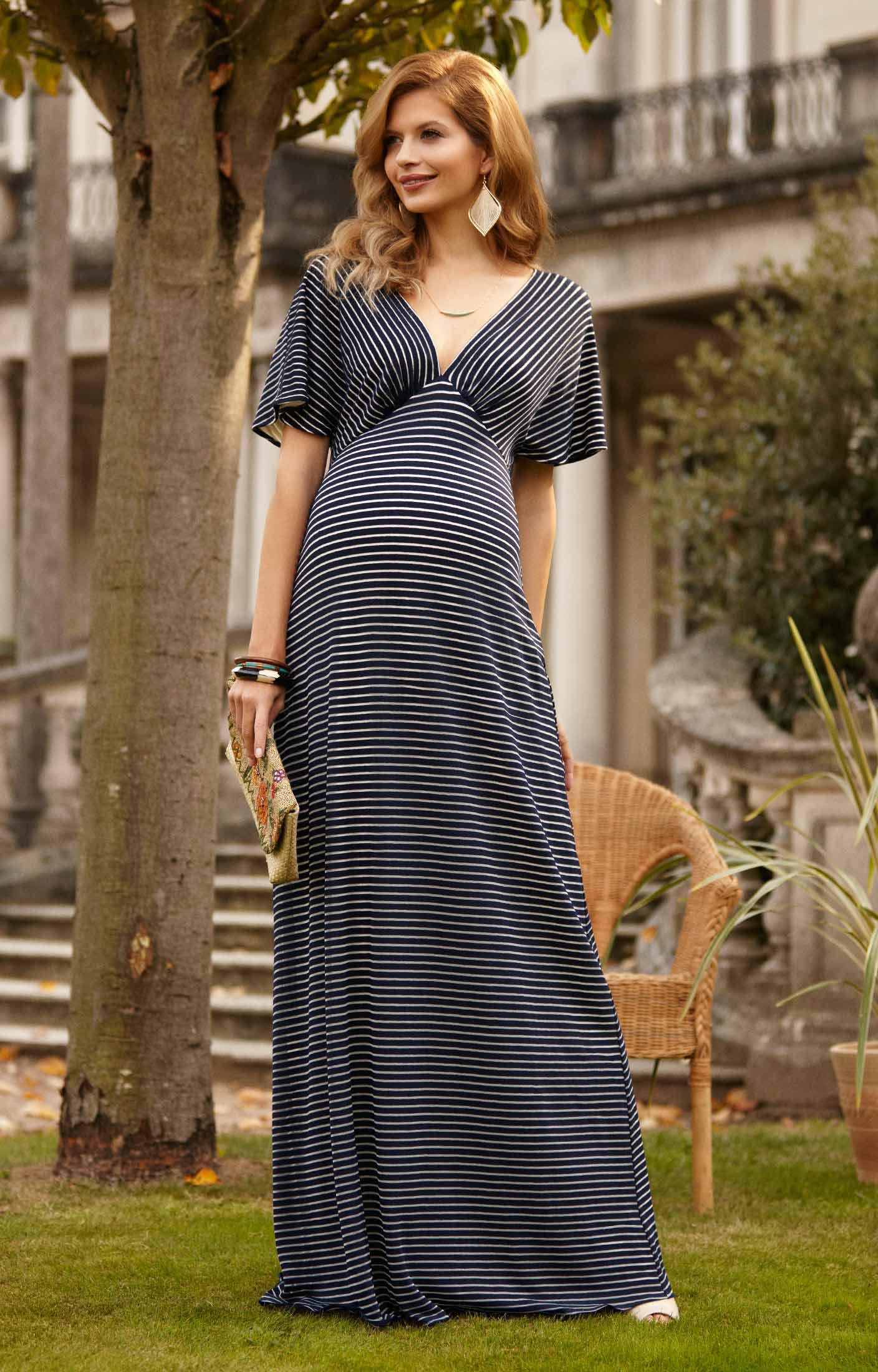 Celia maternity maxi dress navy stripe maternity wedding for Wearing a maxi dress to a wedding