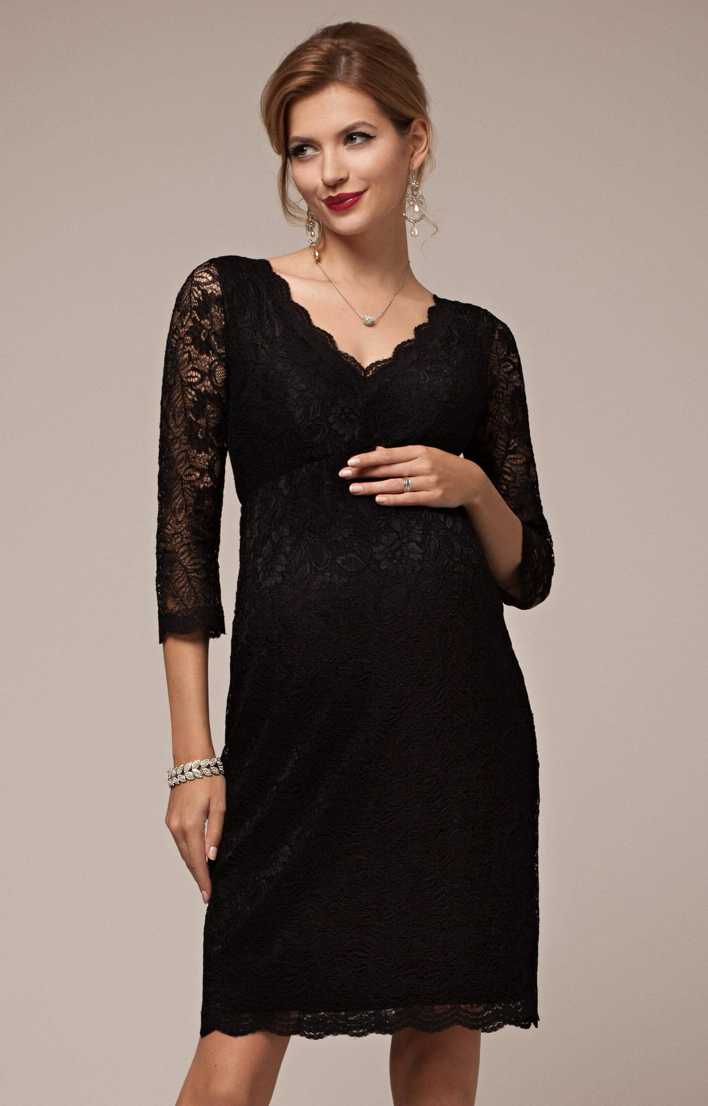 Chloe Lace Maternity Dress Black Maternity Wedding