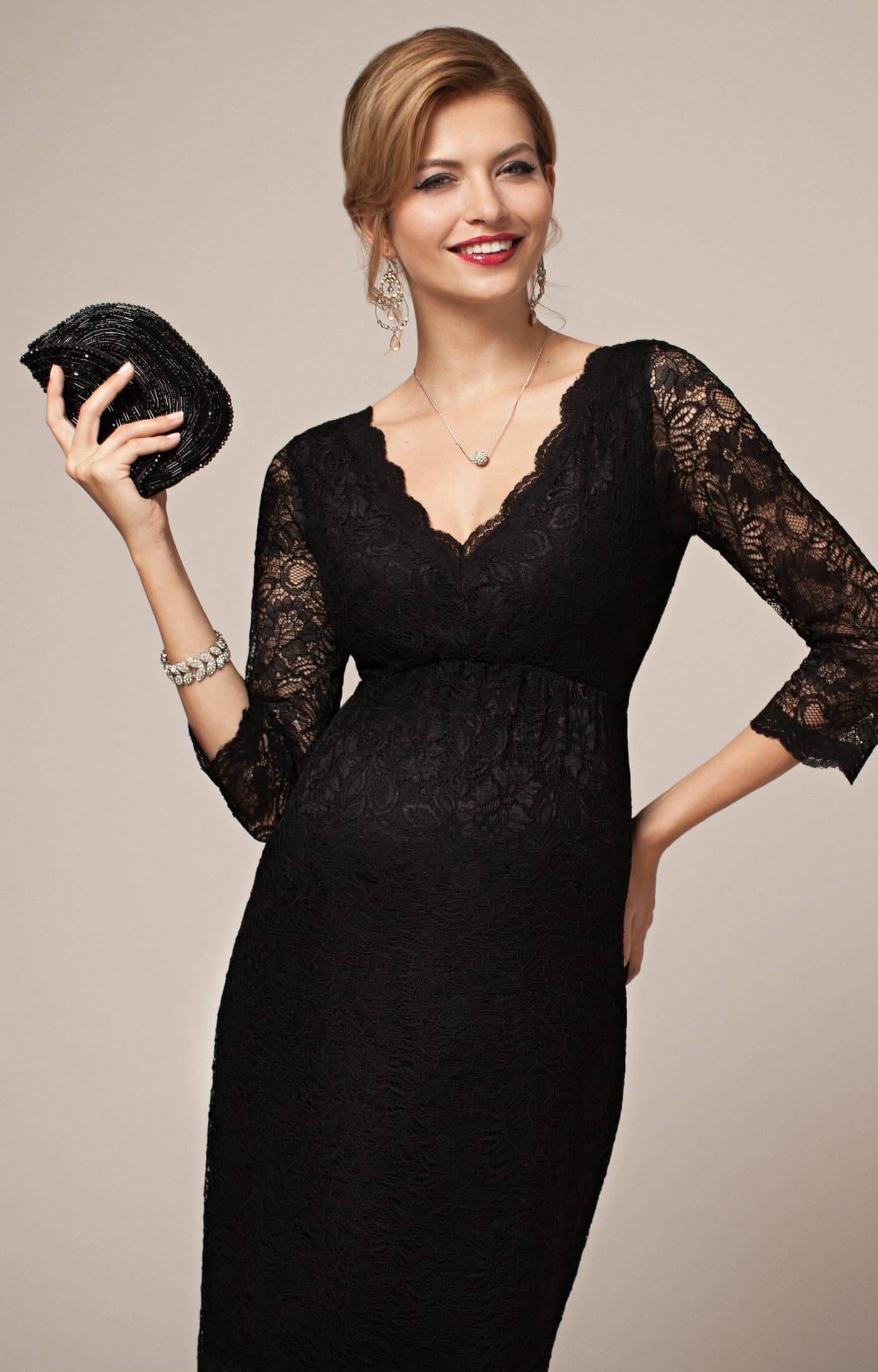 Chloe Lace Maternity Dress Black - Maternity Wedding Dresses ...
