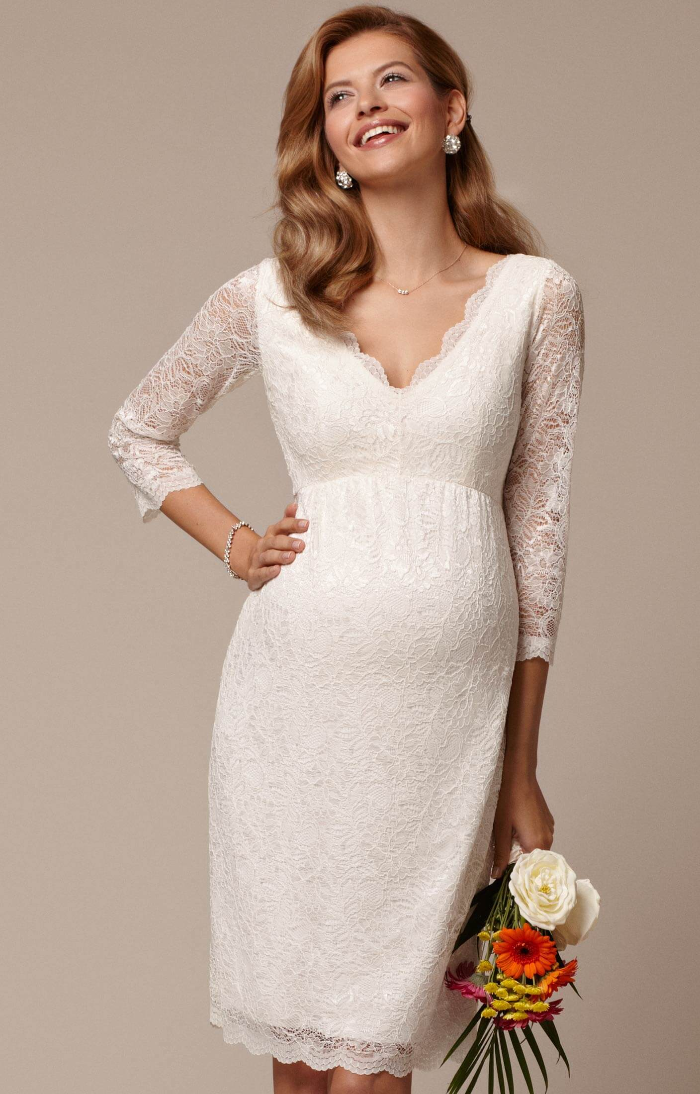 Chloe Lace Maternity Wedding Dress (Ivory) short maternity wedding dresses Chloe Lace Maternity Wedding Dress Ivory Maternity Wedding Dresses Evening Wear and Party Clothes by Tiffany Rose