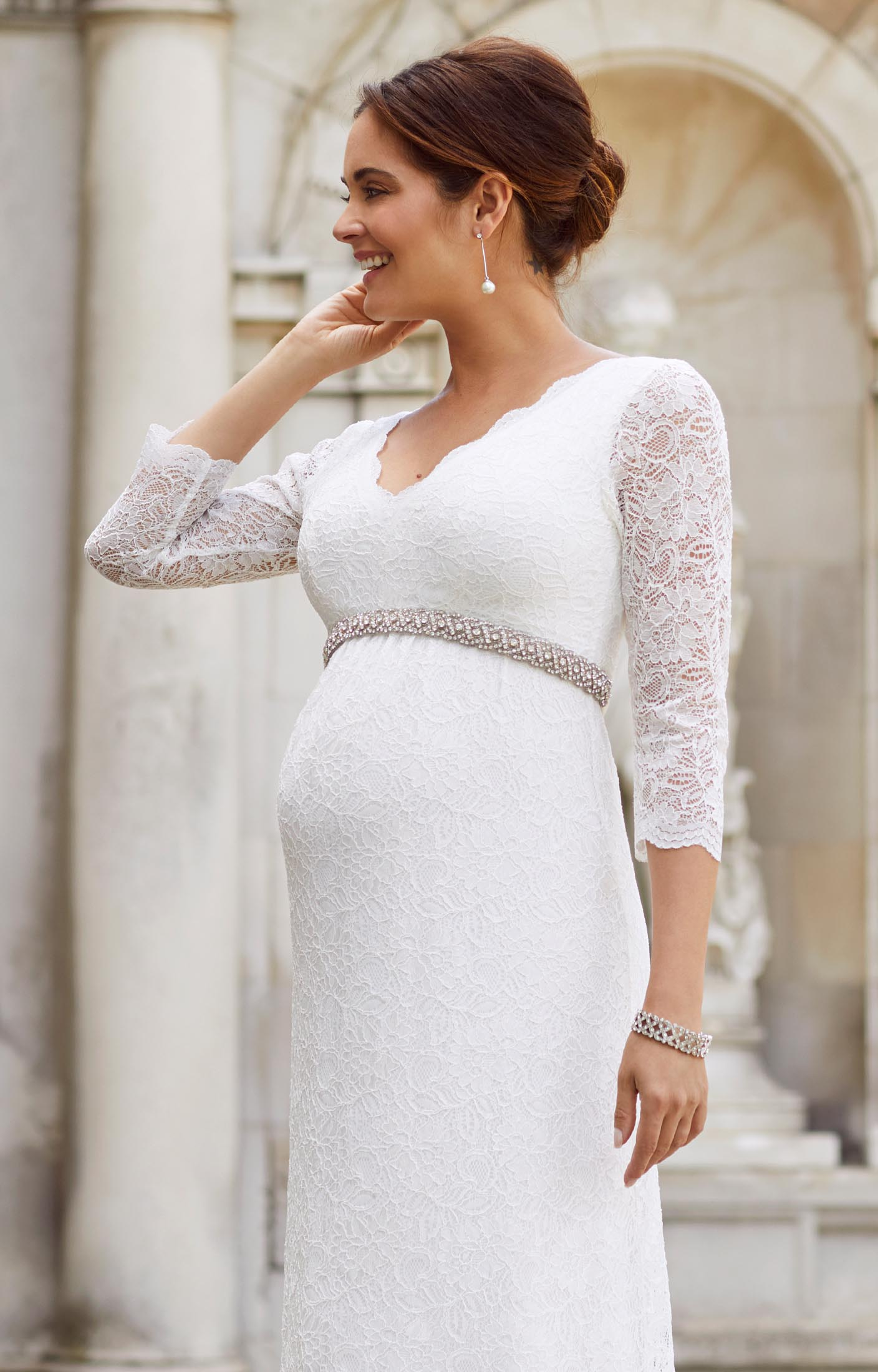Chloe Lace Maternity Wedding Gown Ivory - Maternity Wedding Dresses ...