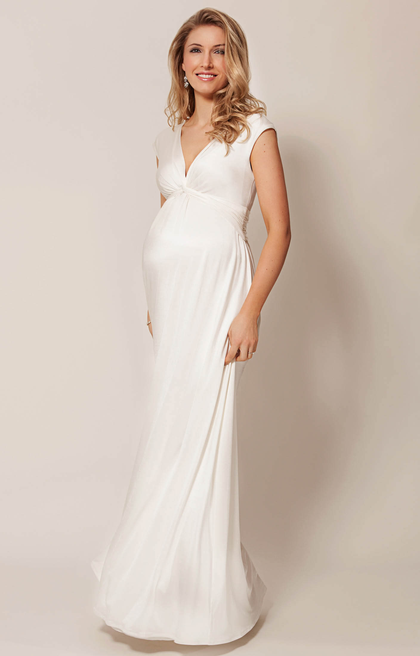 Clara maternity wedding gown long ivory maternity for Pregnancy dress for wedding