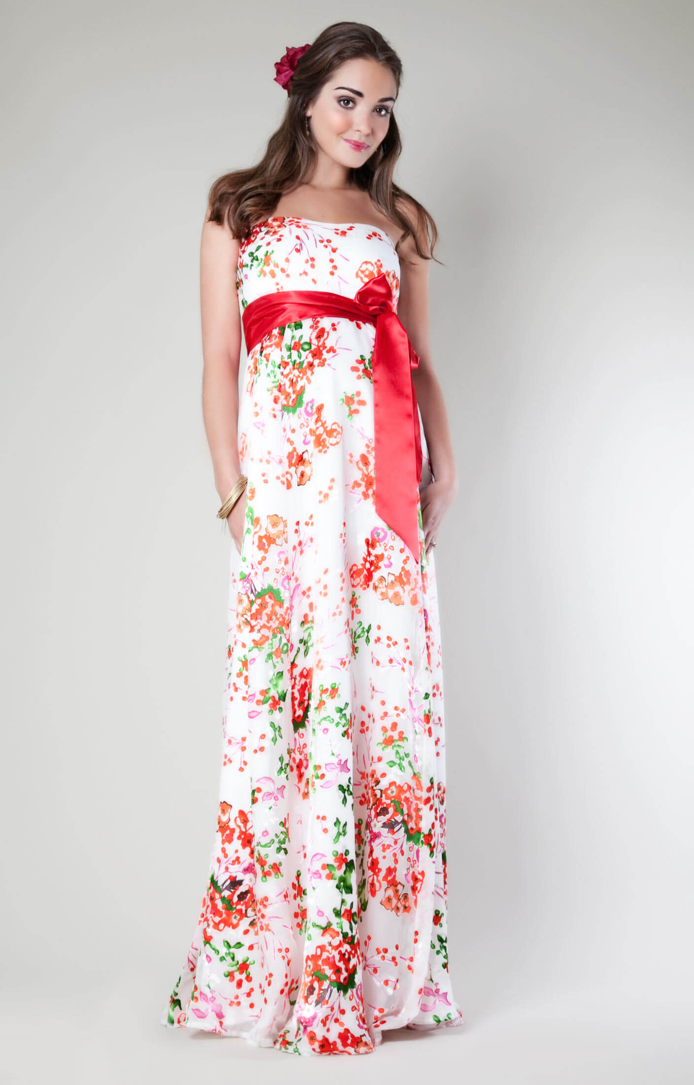 Clementine floral maternity gown long maternity for Wedding guest pregnancy dresses