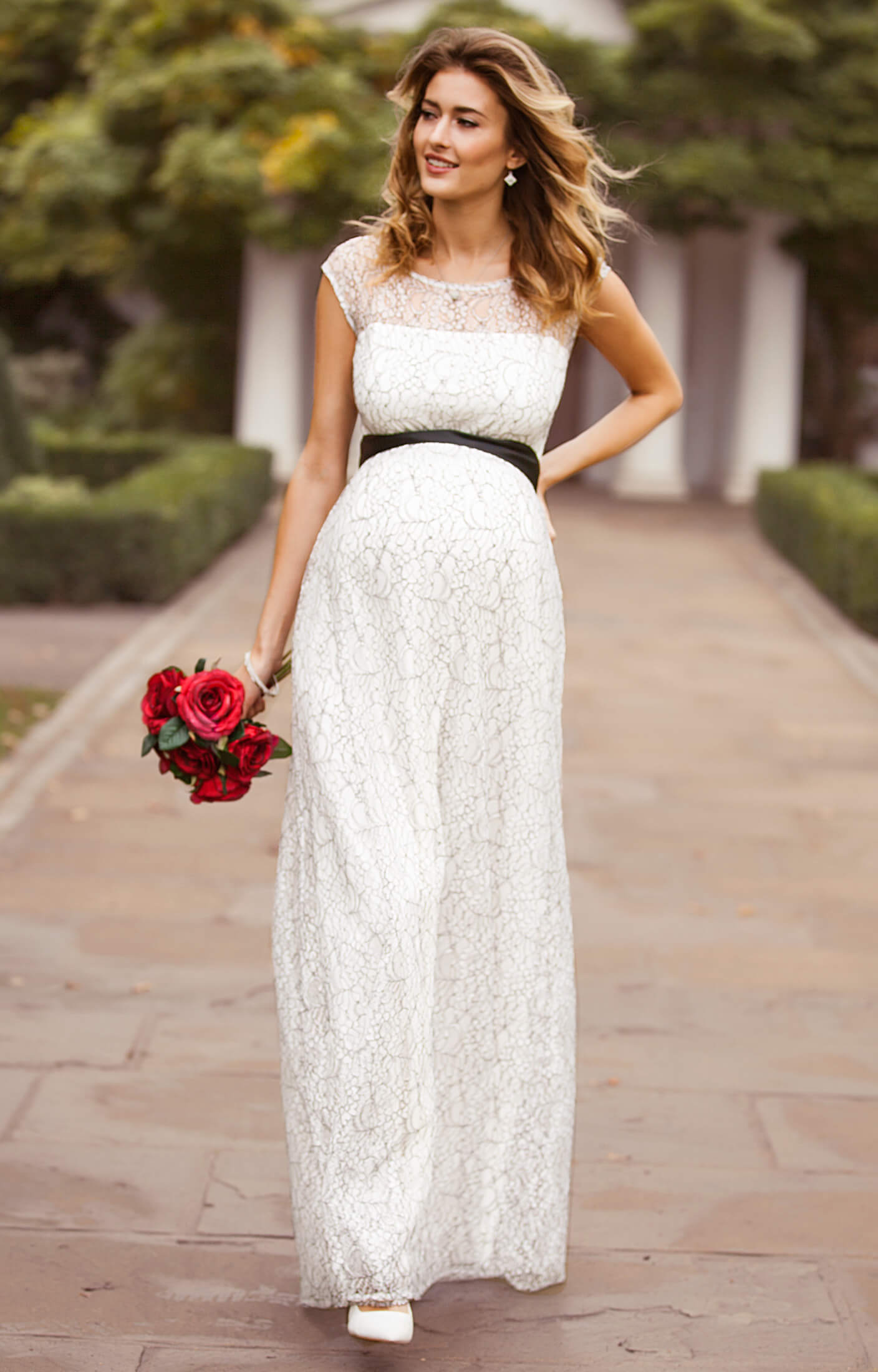 Daisy maternity wedding gown long mono lace maternity for Wedding guest pregnancy dresses