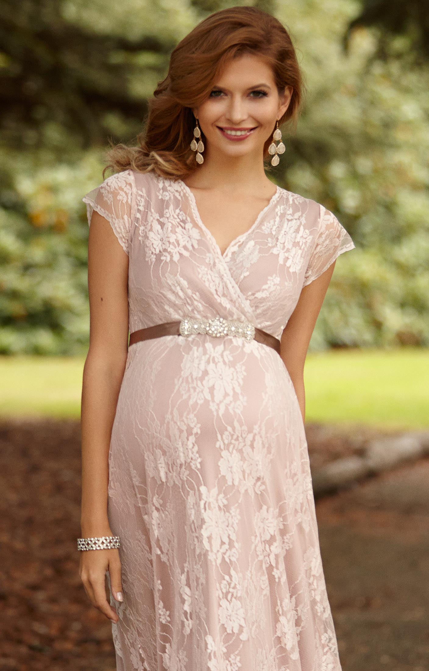 Blush maternity wedding dresses