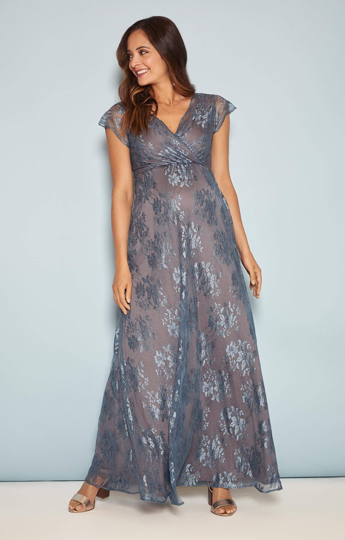 Eden Maternity Gown Long Caspian Blue Maternity