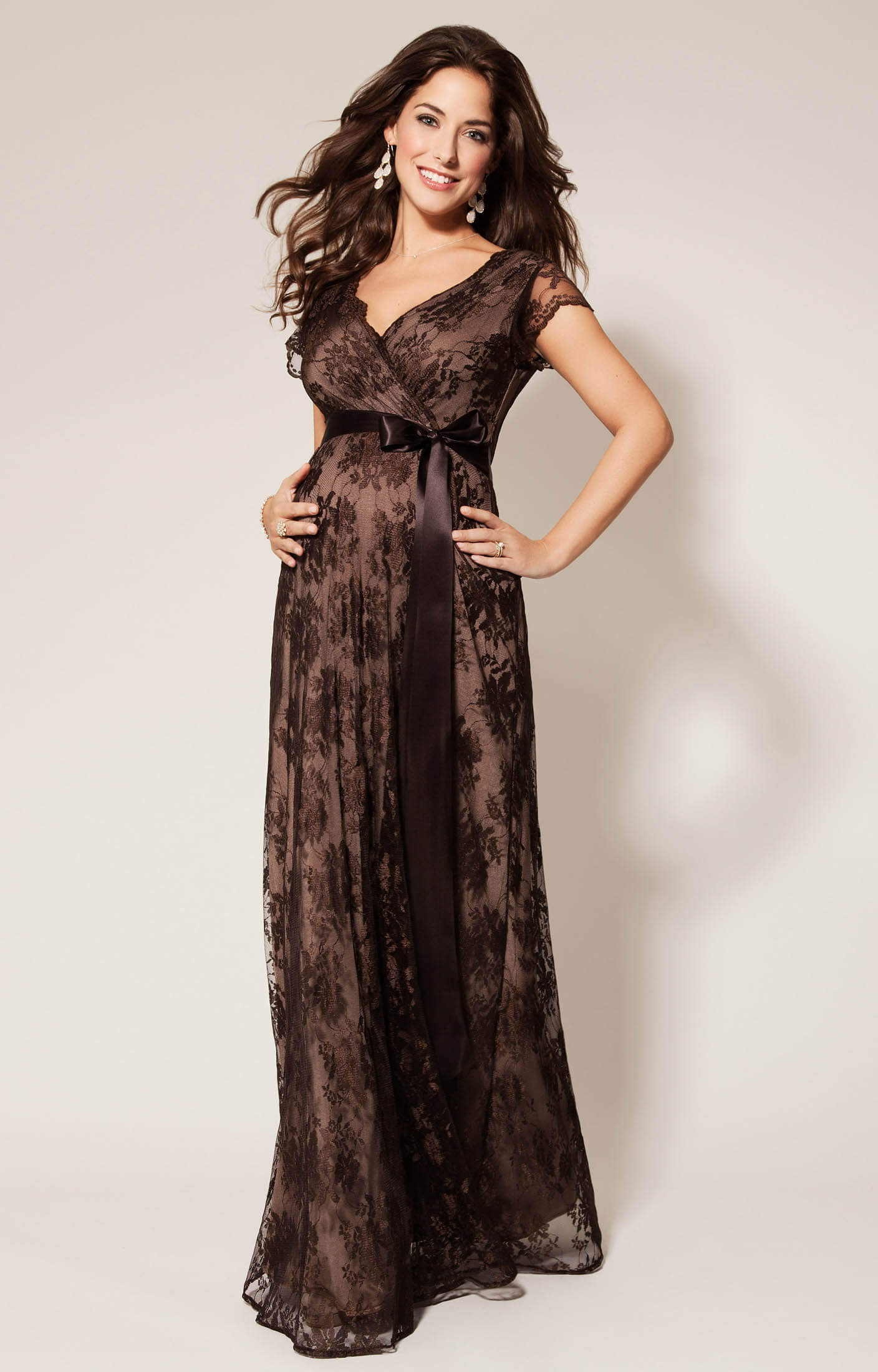 Eden Maternity Gown Long Chocolate - Maternity Wedding Dresses ...