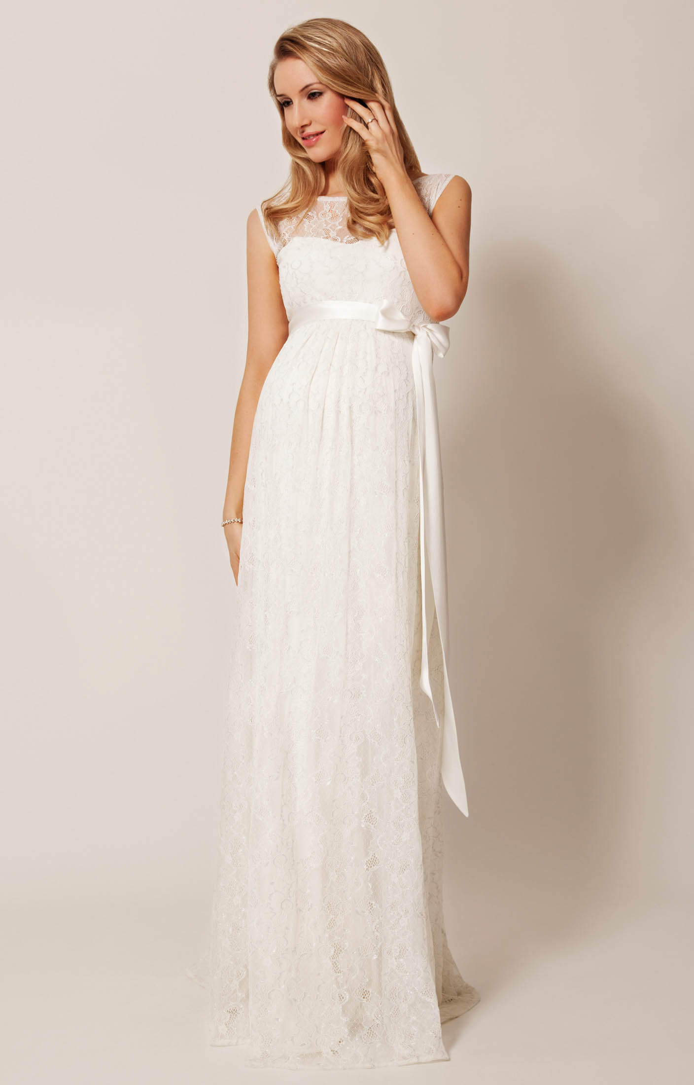 Ellie maternity wedding gown long ivory maternity for Pregnancy dress for wedding