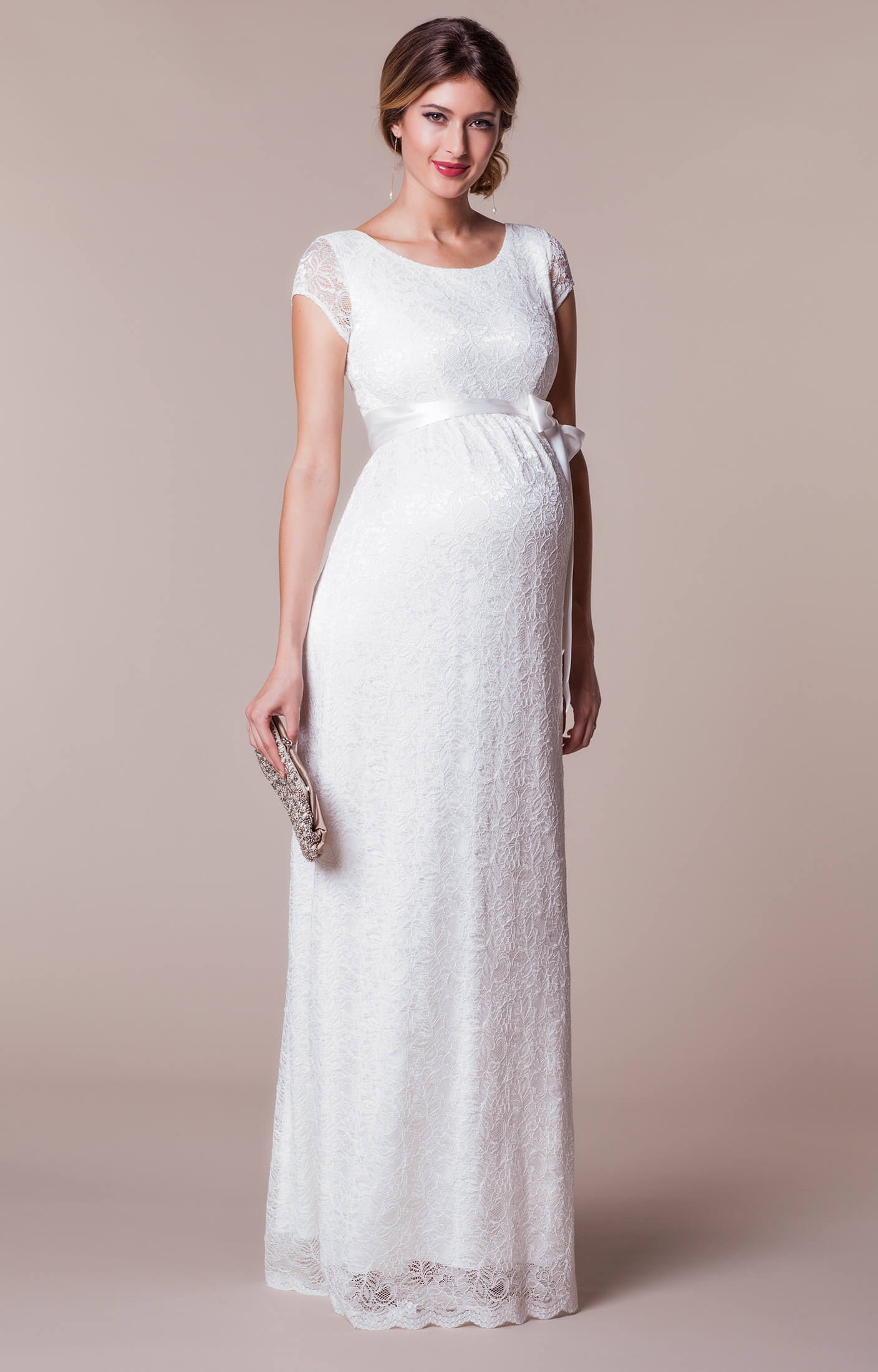 Emma maternity wedding gown long ivory maternity wedding for Pregnancy dress for wedding