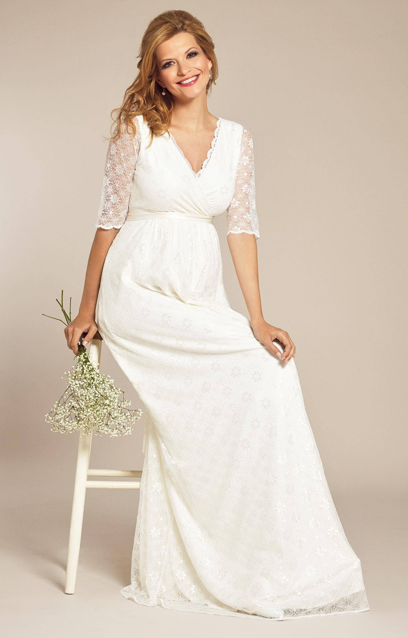 Enya maternity wedding gown long ivory maternity wedding for Maternity dresses for wedding party