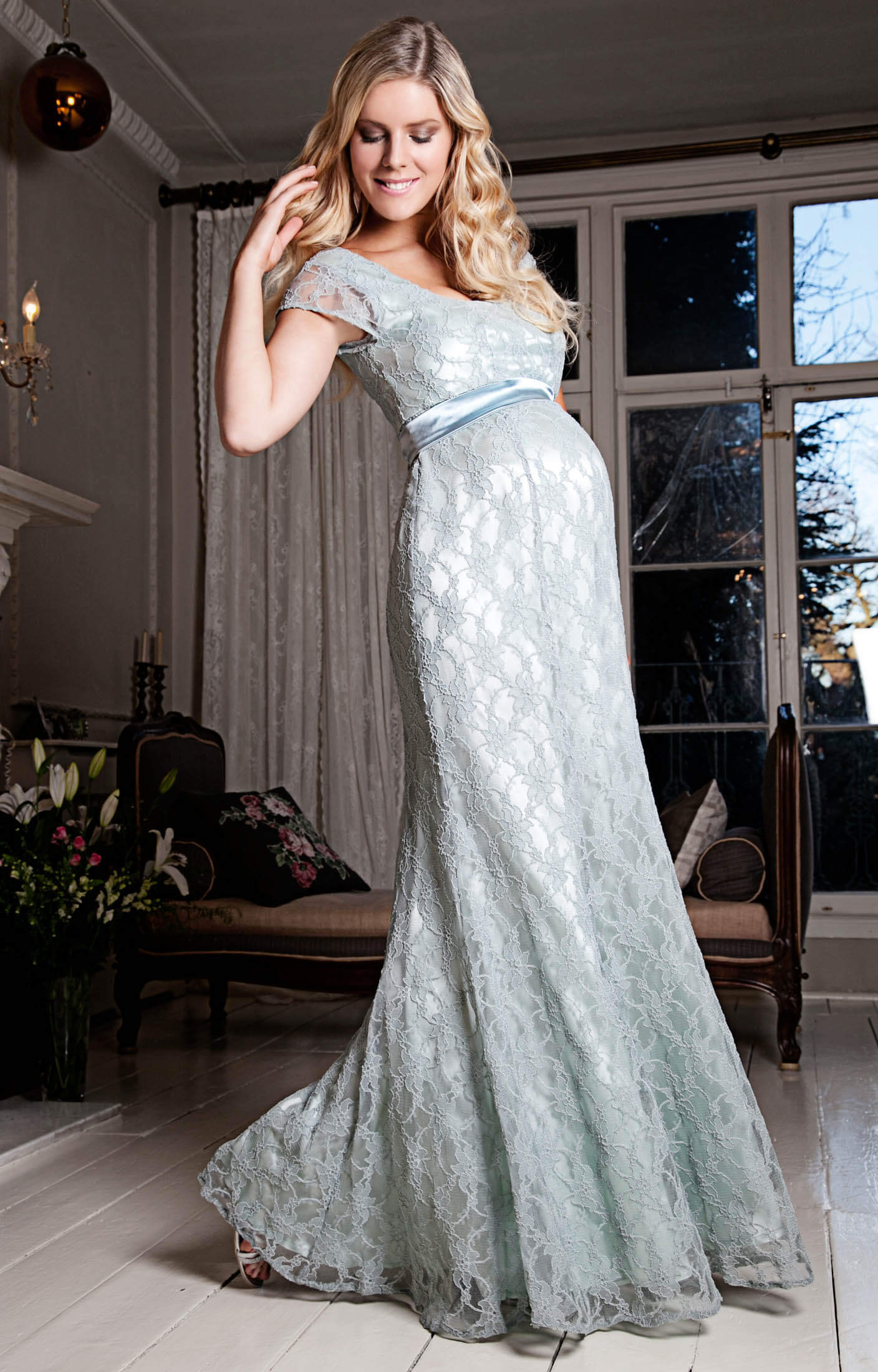 Eva Lace Maternity Gown Glacier Maternity Wedding