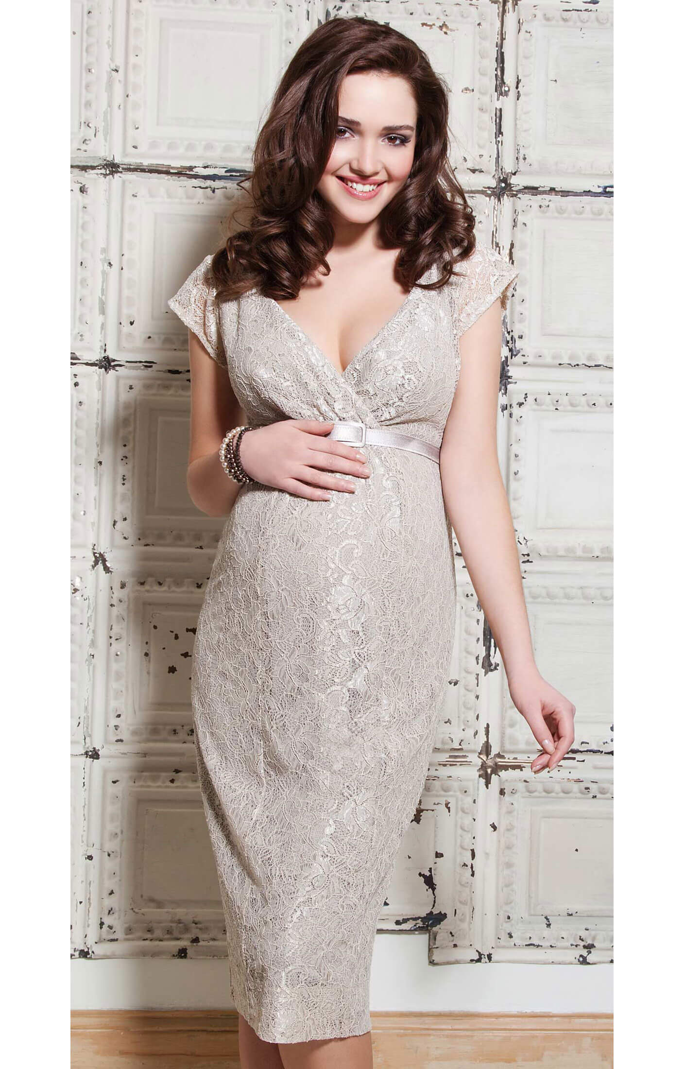 Evelyn maternity dress champagne beige maternity for Beige dress for wedding guest