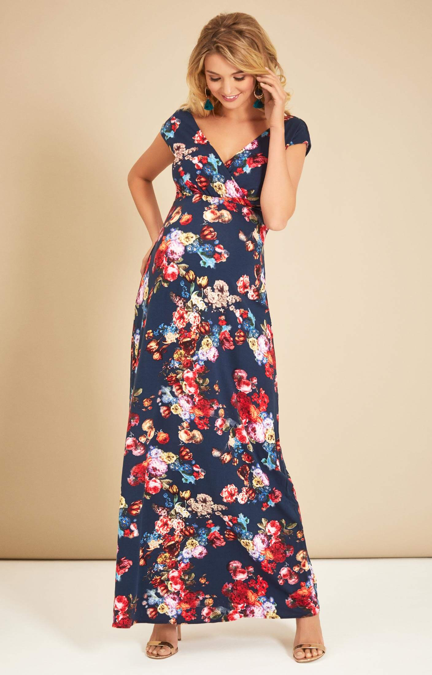 Alana Maternity Maxi Dress Midnight Garden - Maternity Wedding ...