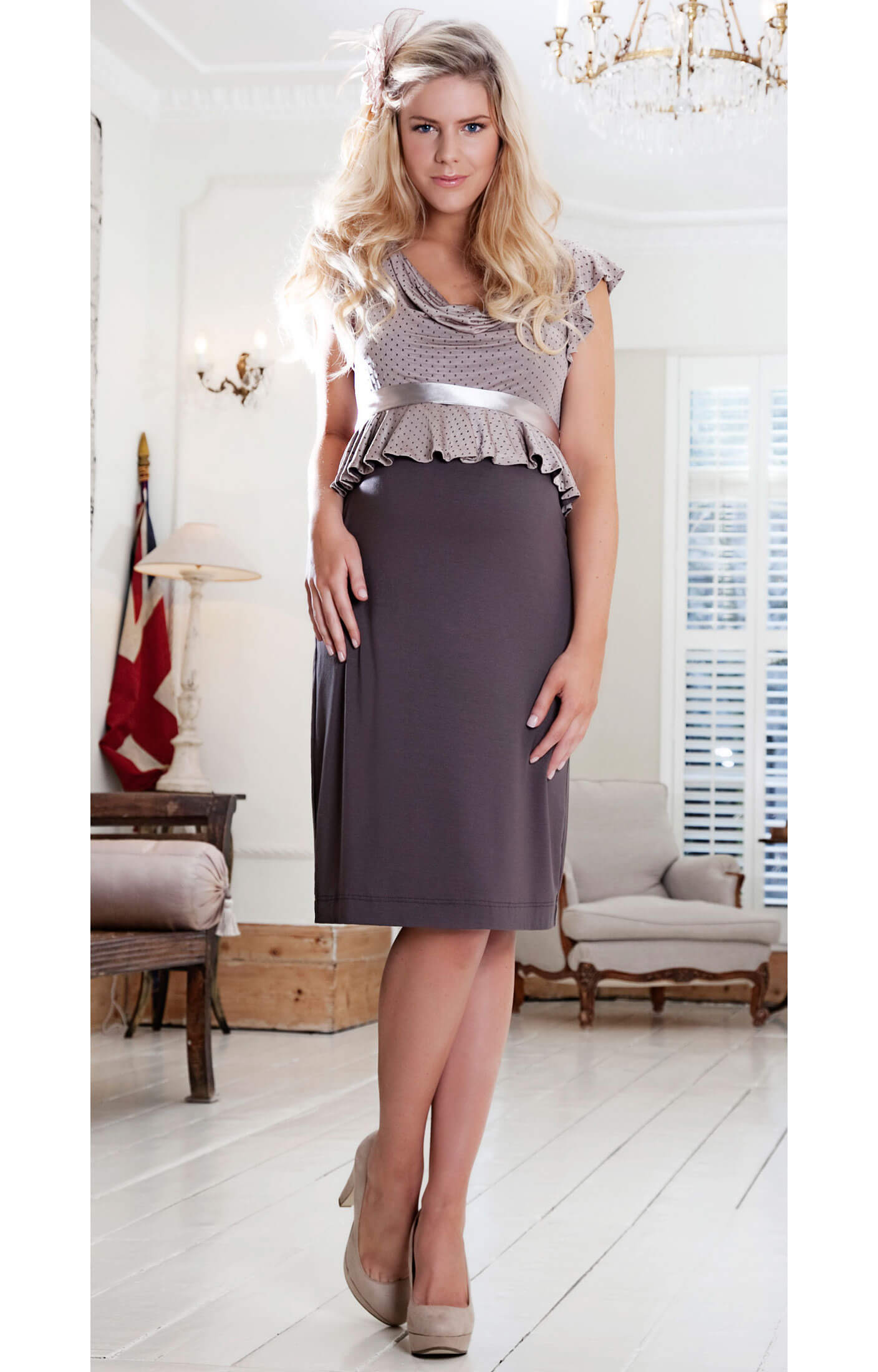 Flounce tea maternity dress maternity wedding dresses for Wedding guest pregnancy dresses