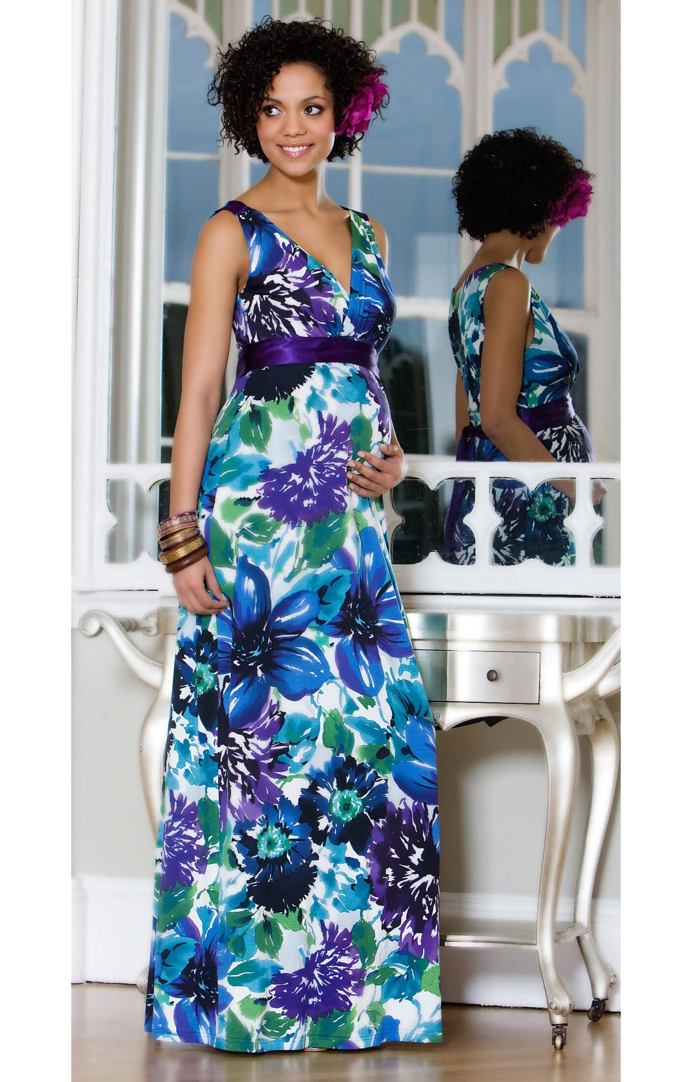 Floral maternity maxi dress maternity wedding dresses for Maxi maternity dresses for weddings