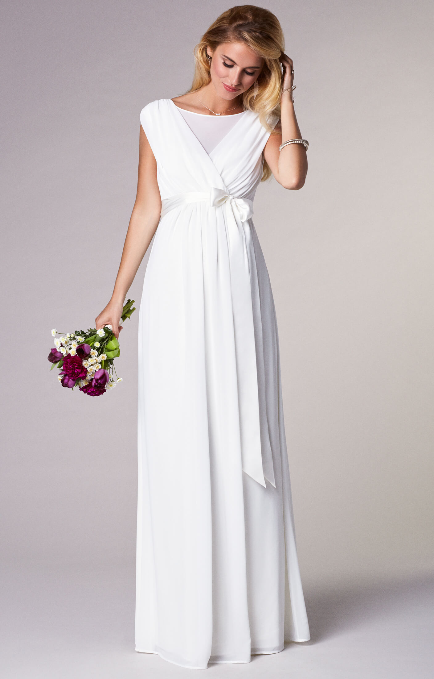 Georgette maternity wedding gown long ivory maternity for Ivory maternity wedding dresses