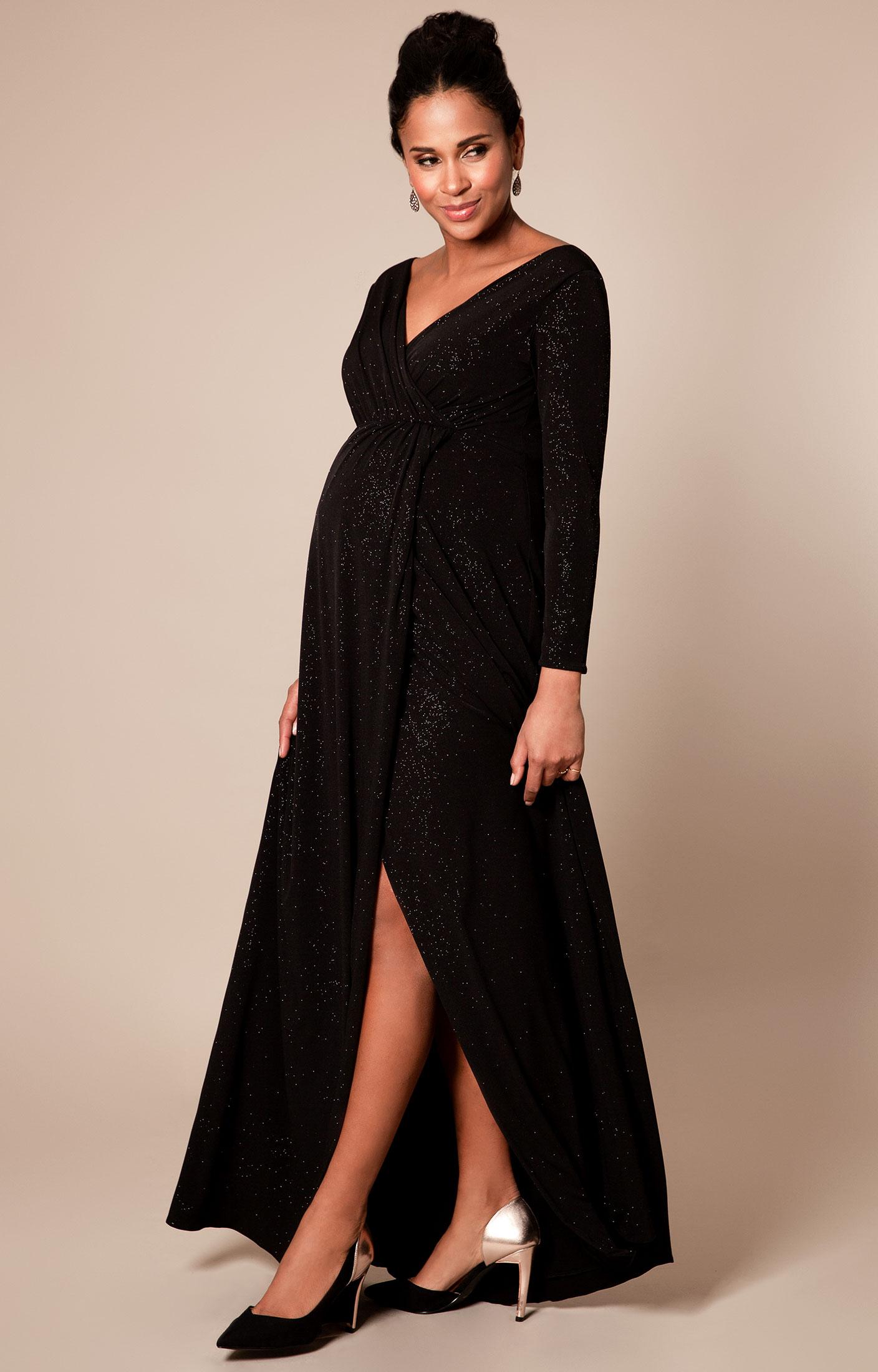 Schwarzes Umstands- und Still-Abendkleid aus glitzerndem Material.