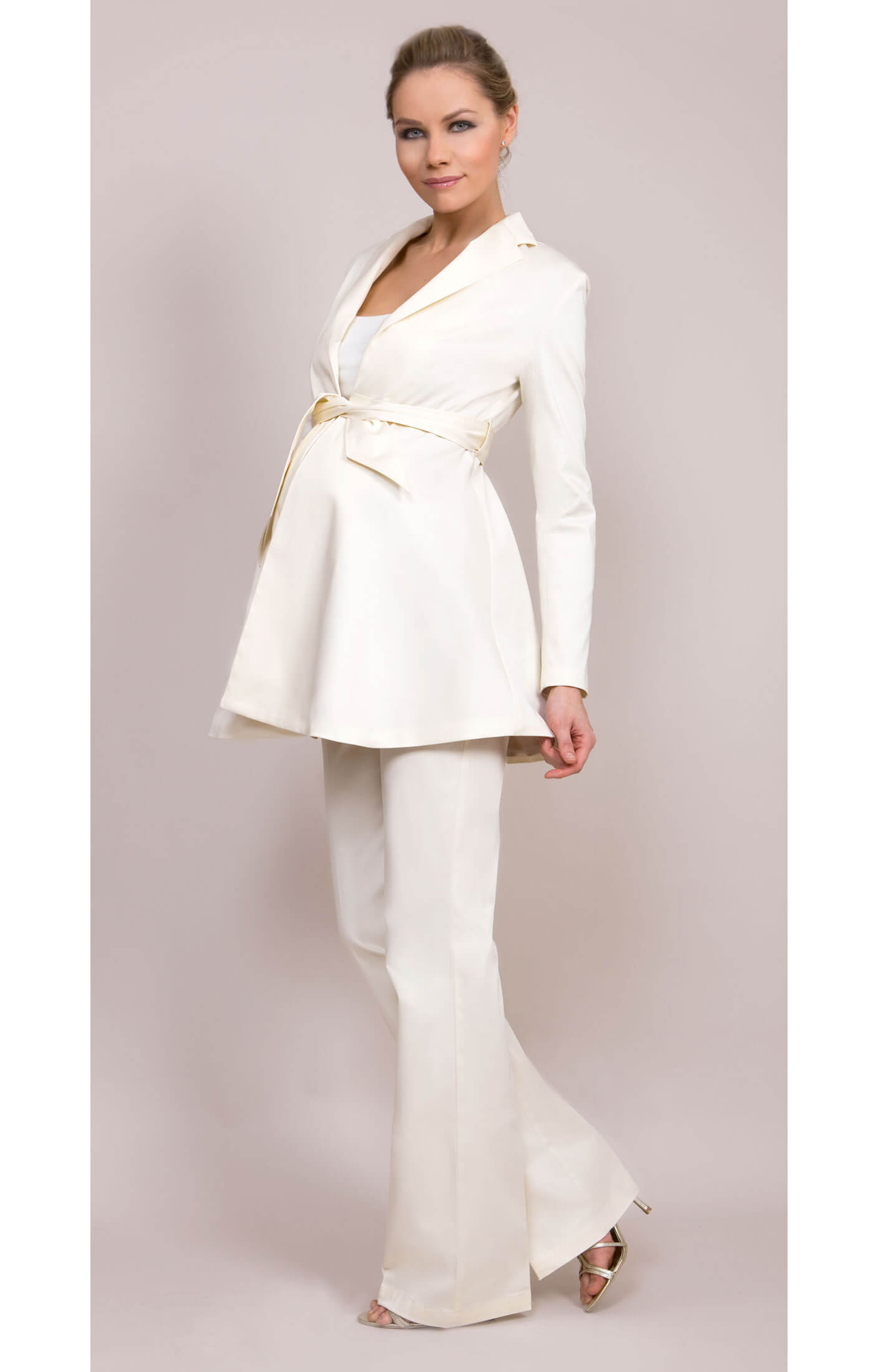 Tailored maternity jacket cream maternity wedding for Maternity dresses for wedding party