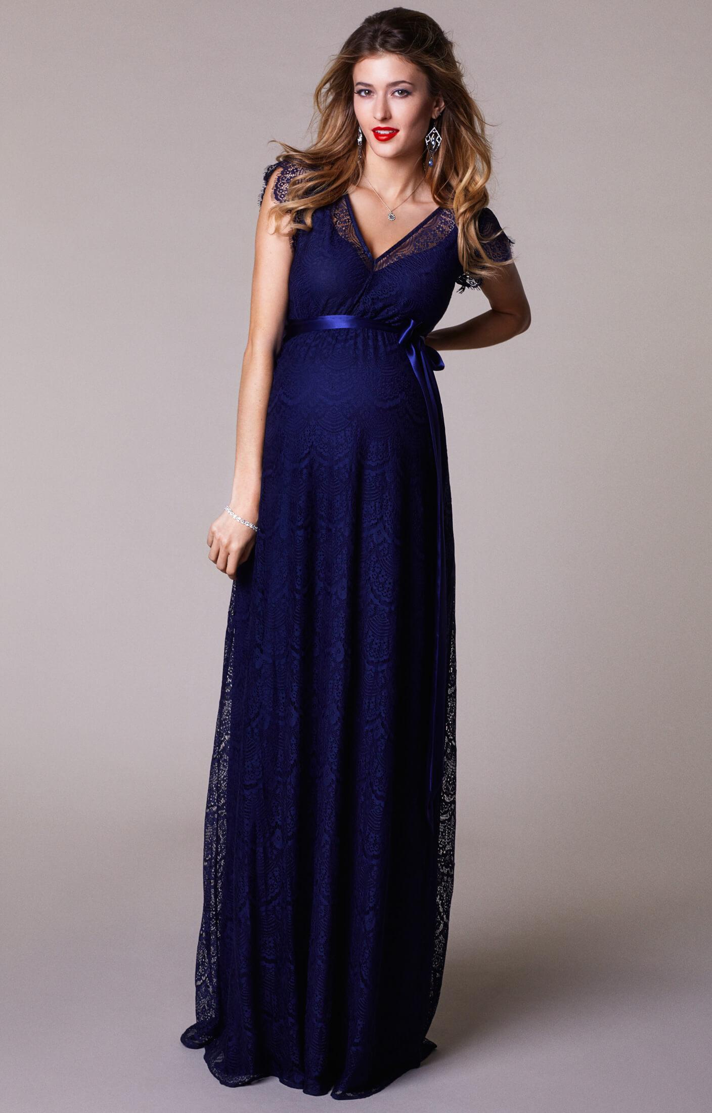 Kristin Maternity Gown Long Indigo Blue Maternity