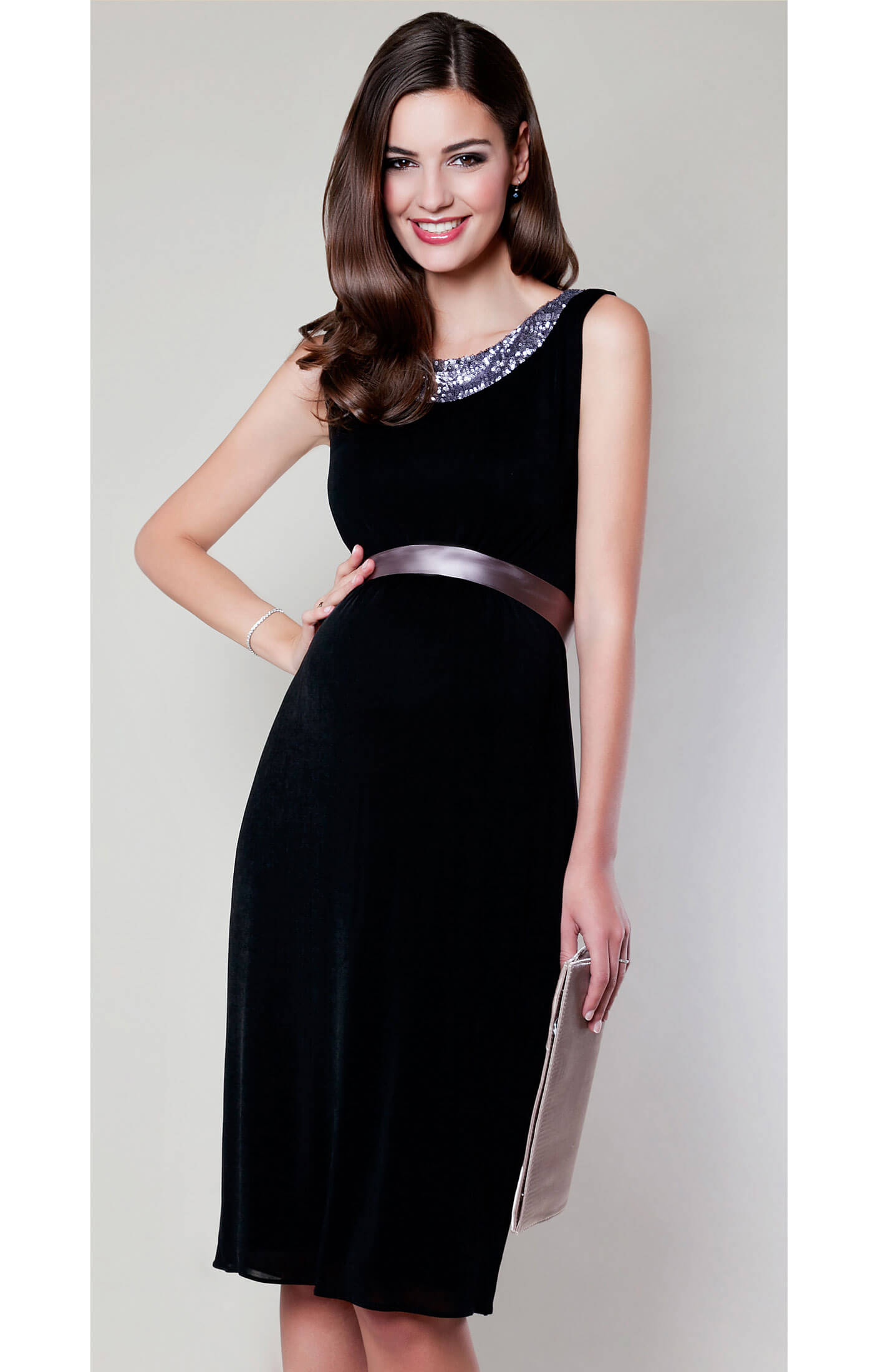 Lana Sequin Maternity Dress Black Maternity Wedding