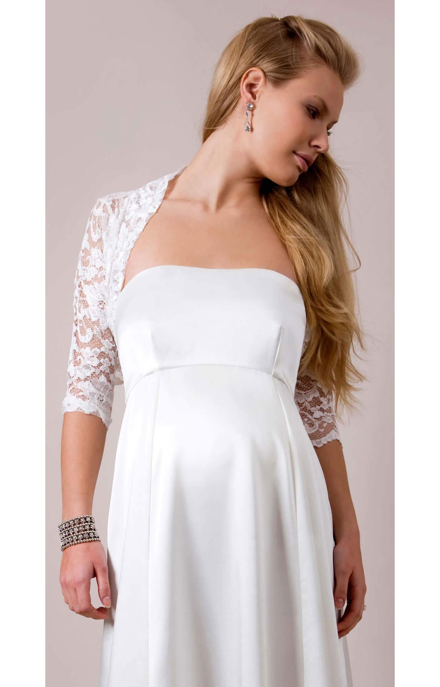 Lace bolero maternity wedding dresses evening wear and for Maternity lace wedding dresses