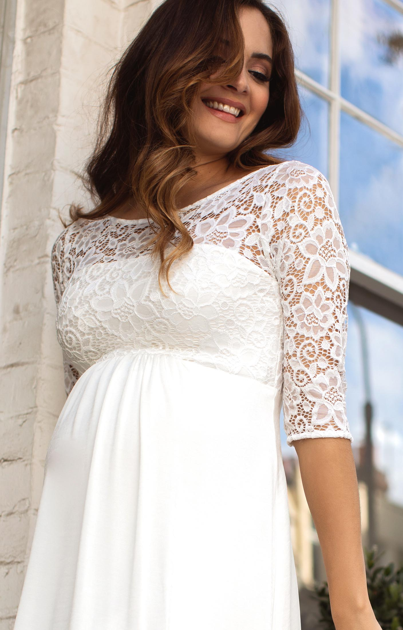 Lucia maternity wedding dress short ivory maternity for Maternity dresses for wedding