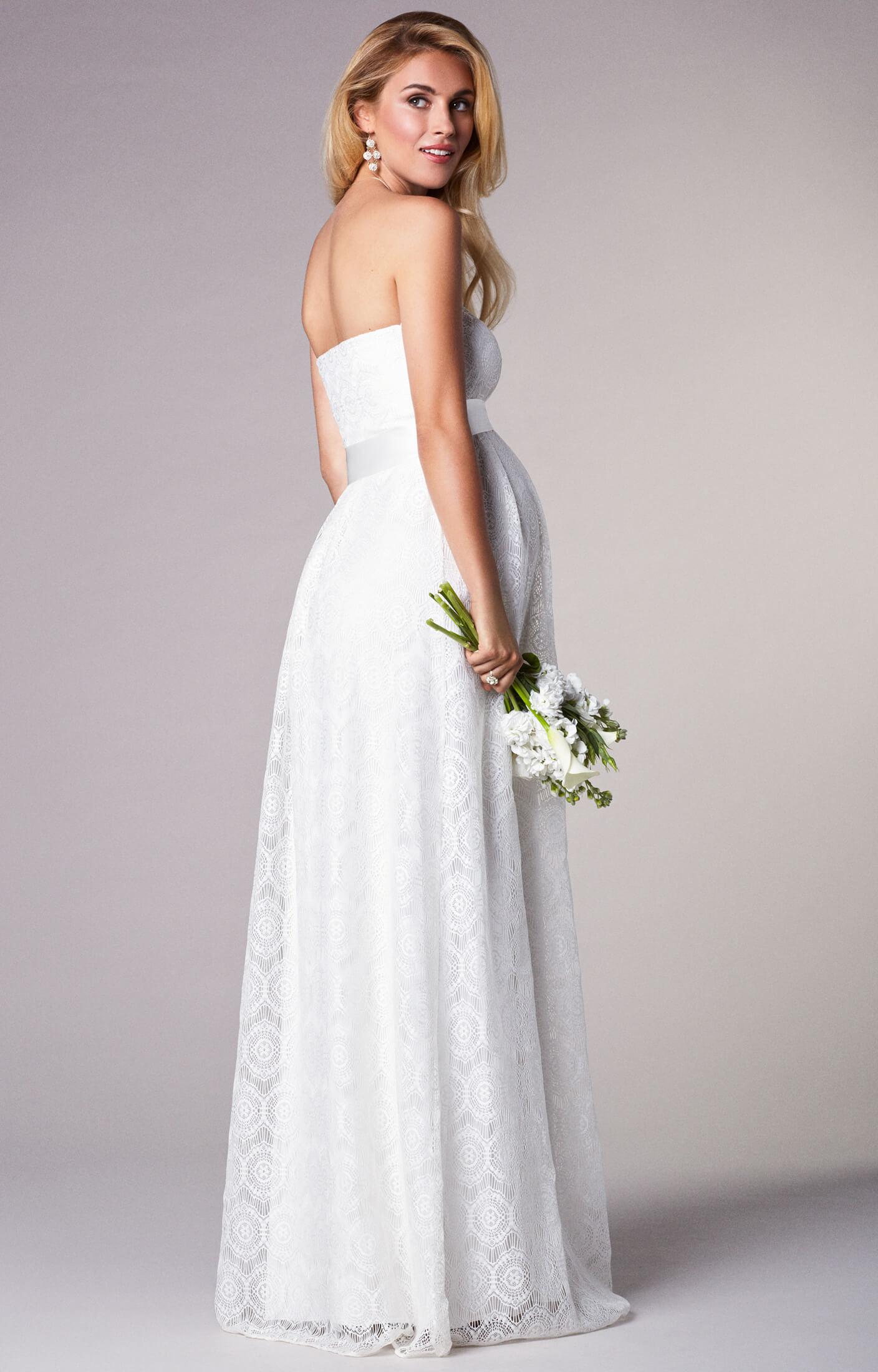 Liara Umstands-Hochzeitskleid lang in Elfenbein ...