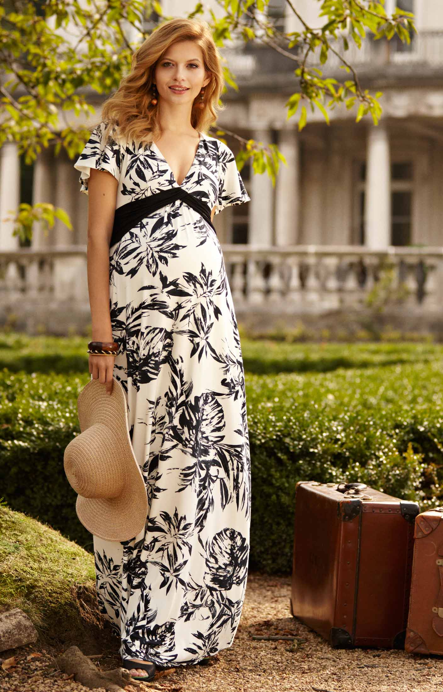 Lizzy Maternity Maxi Dress Monochrome Forest - Maternity Wedding ...