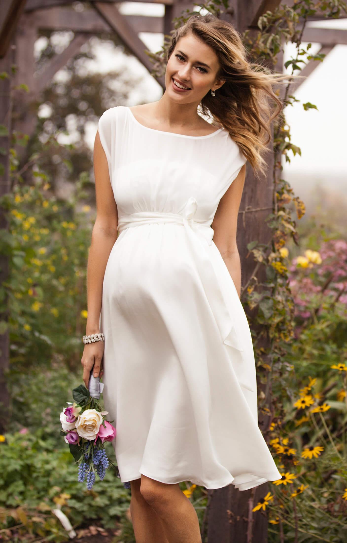 Maya Maternity Wedding Gown Short Ivory