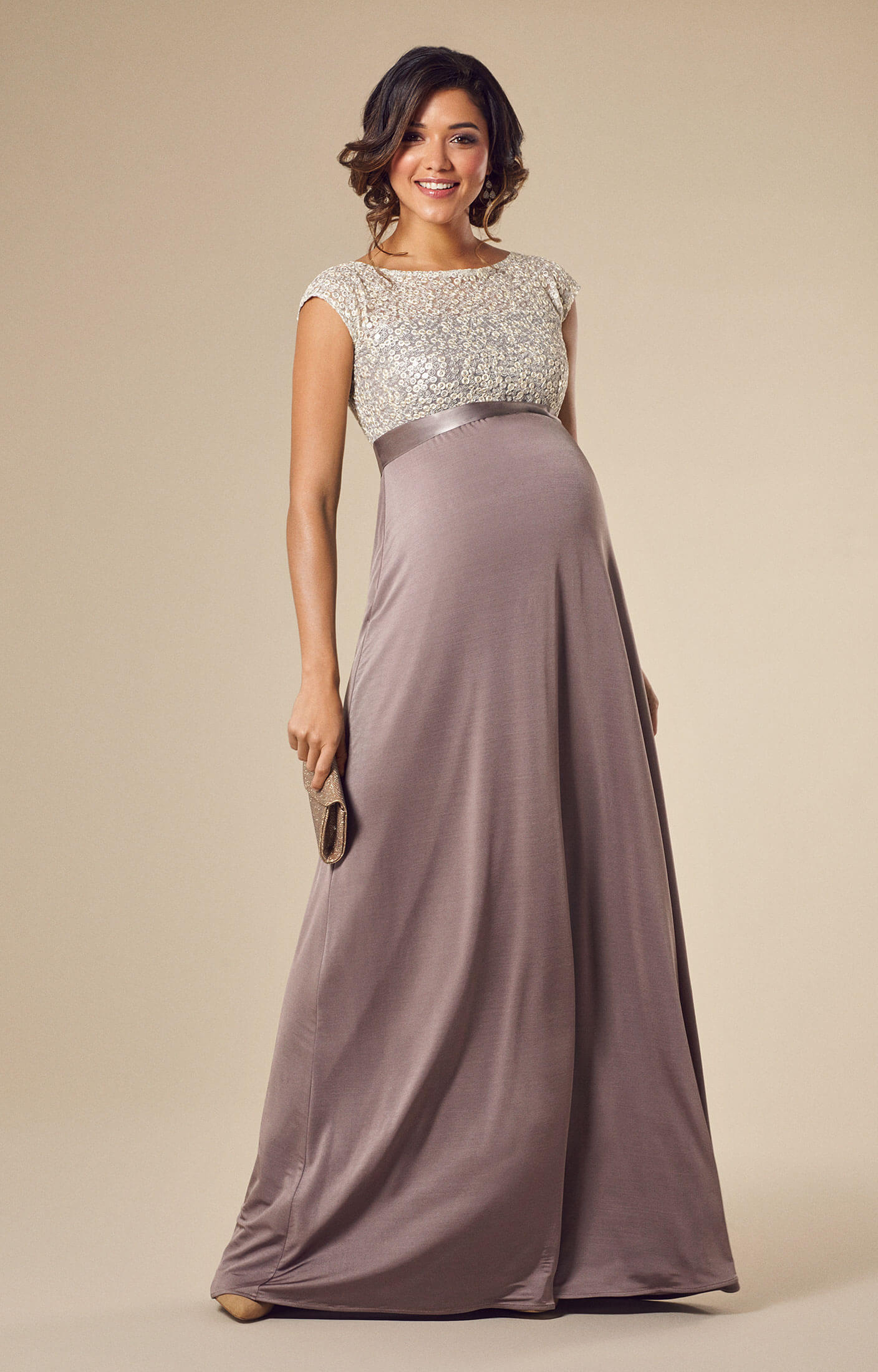 Mia Maternity Gown Dusky Truffle Maternity Wedding