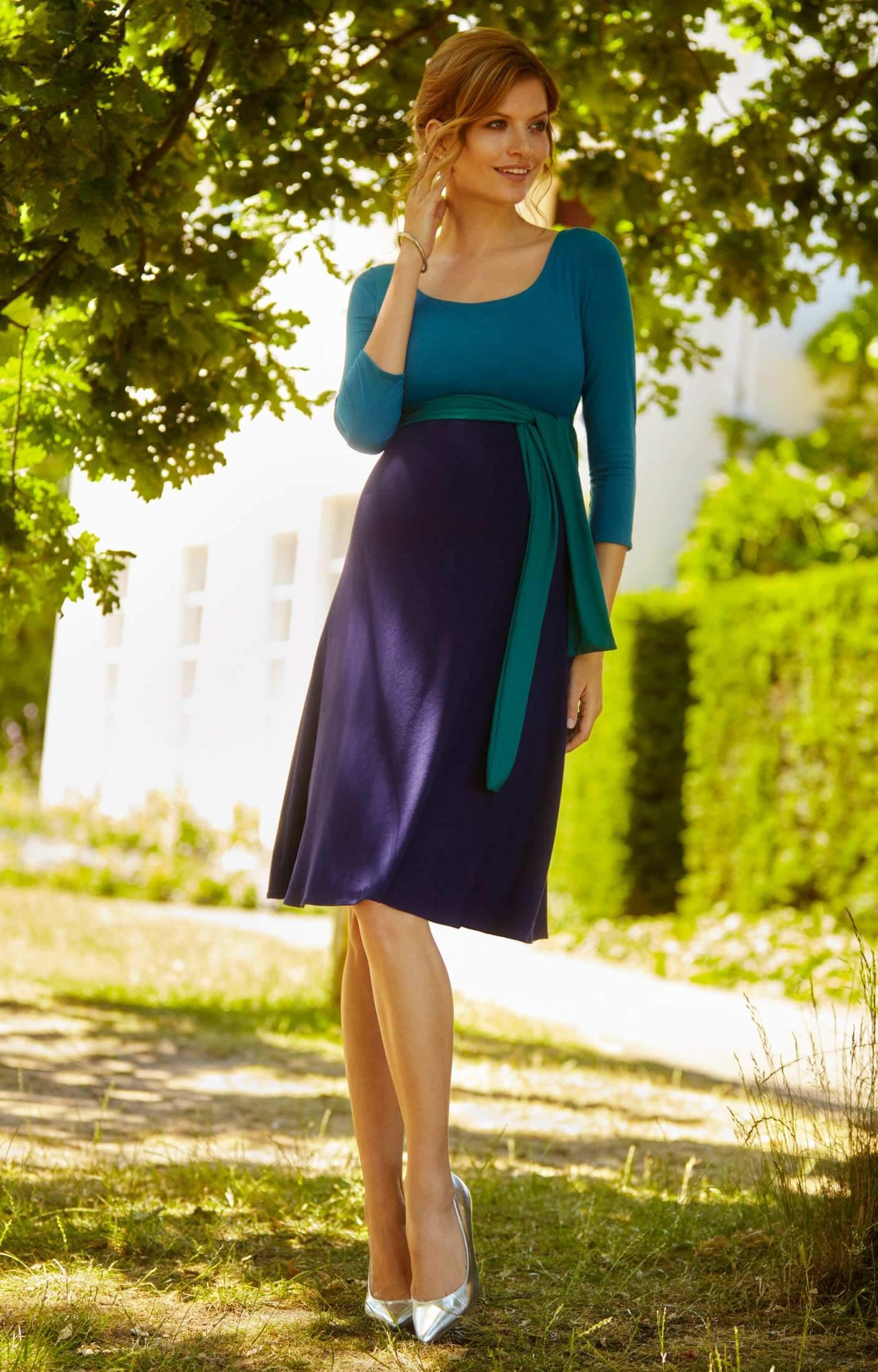 Naomi Nursing Dress Biscay Blue Maternity Wedding