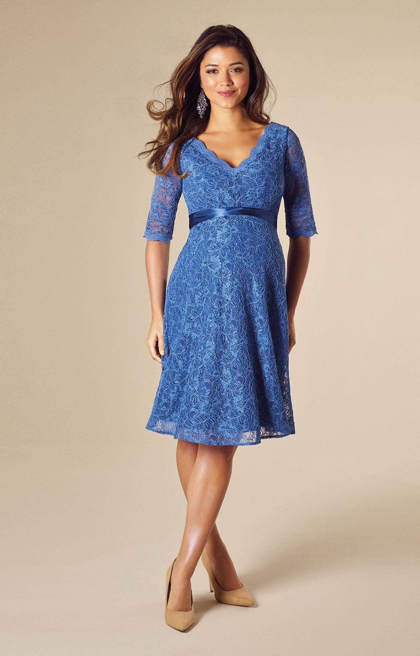 Noelle Maternity Dress Short Riviera Blue